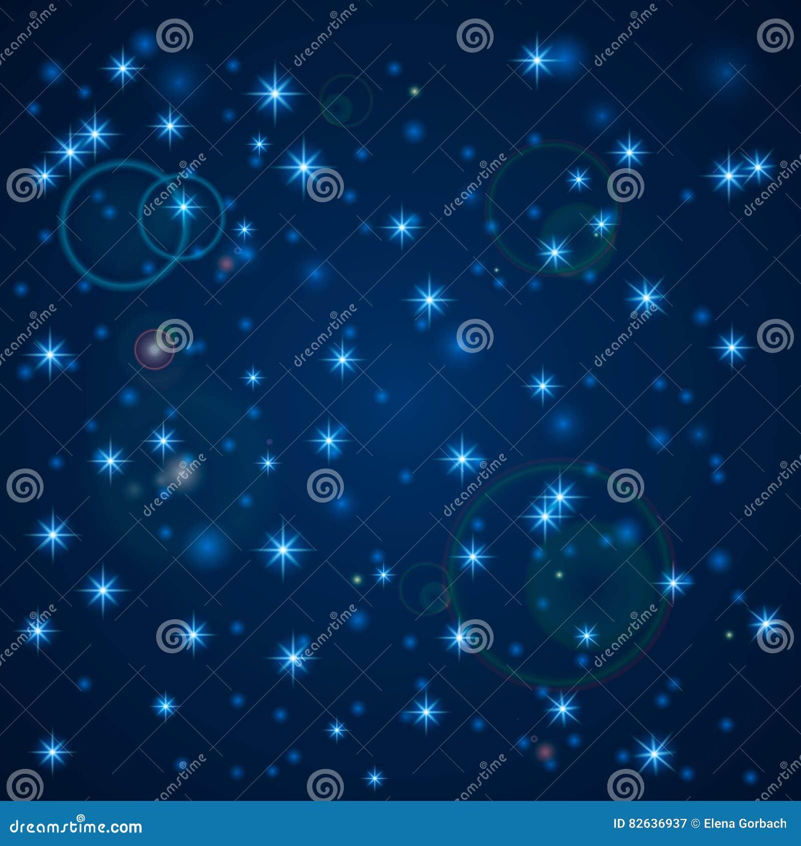 Fondo abstracto azul Cielo nocturno con las estrellas Ilustración del vector Nieve que cae Fondo blanco abstracto del copo de nie