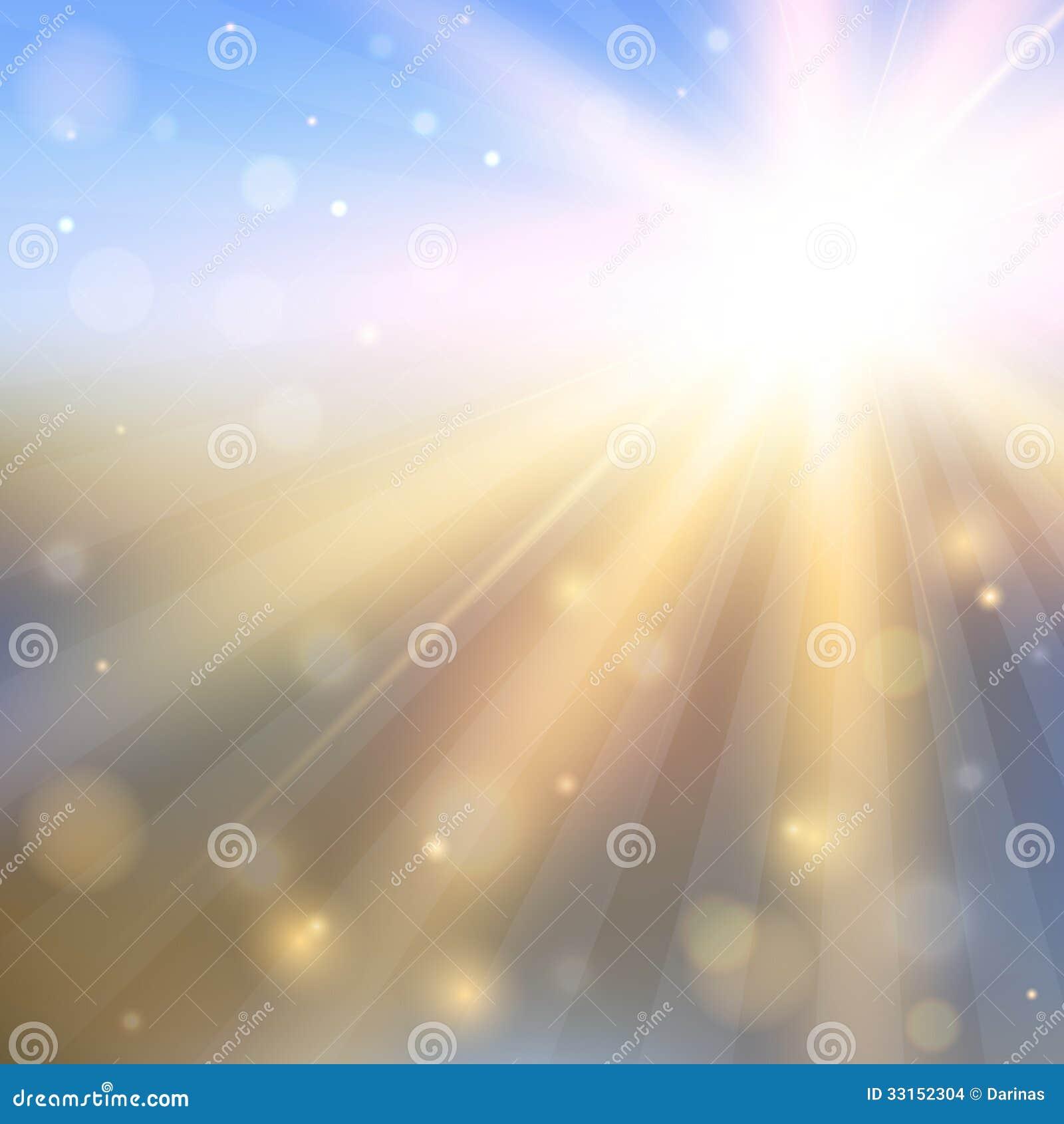 Fondo abstracto con el sol brillante