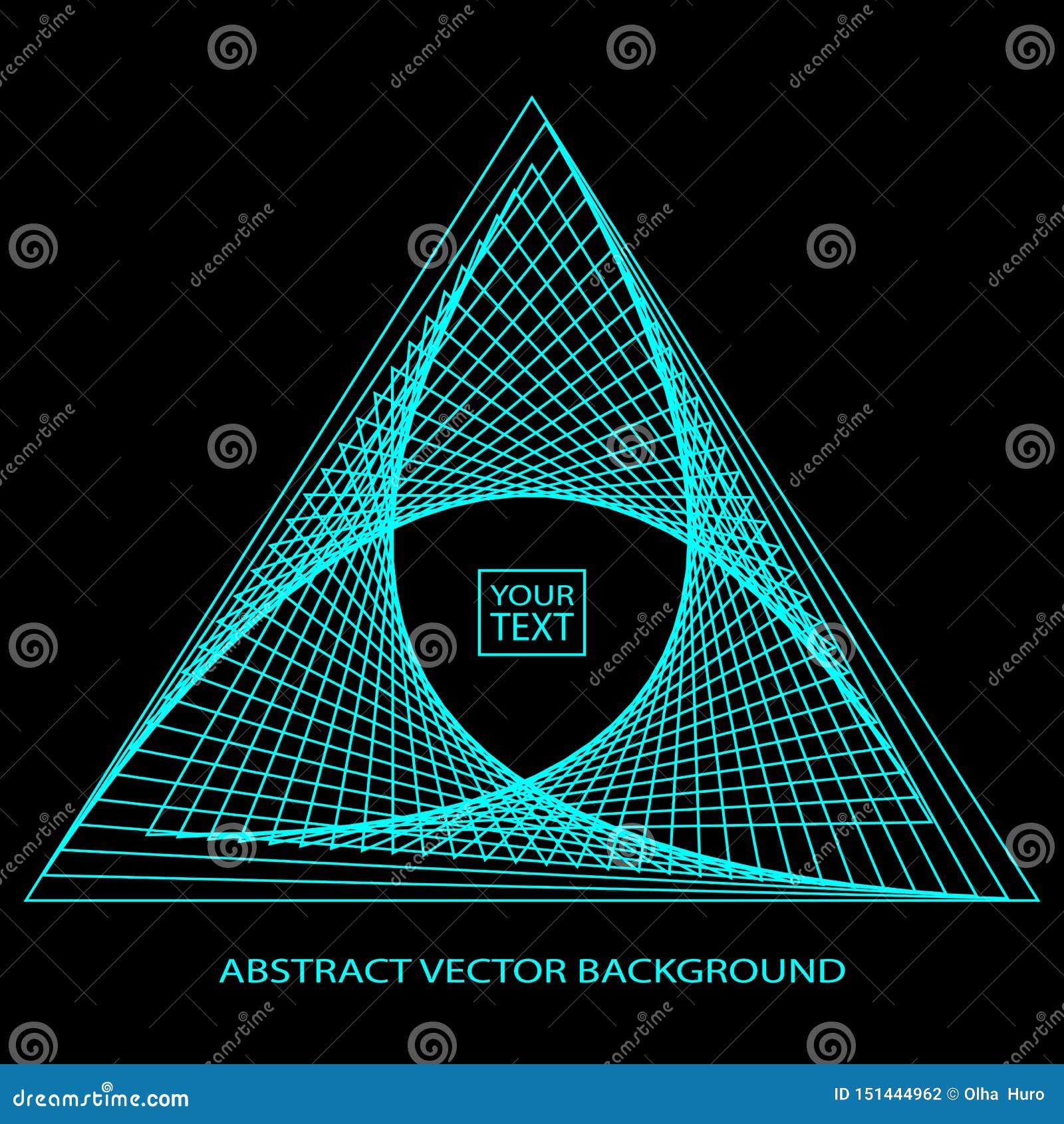 Fondo abstracto con el triángulo azul en la etiqueta, logotipo triangular en un fondo oscuro eps10