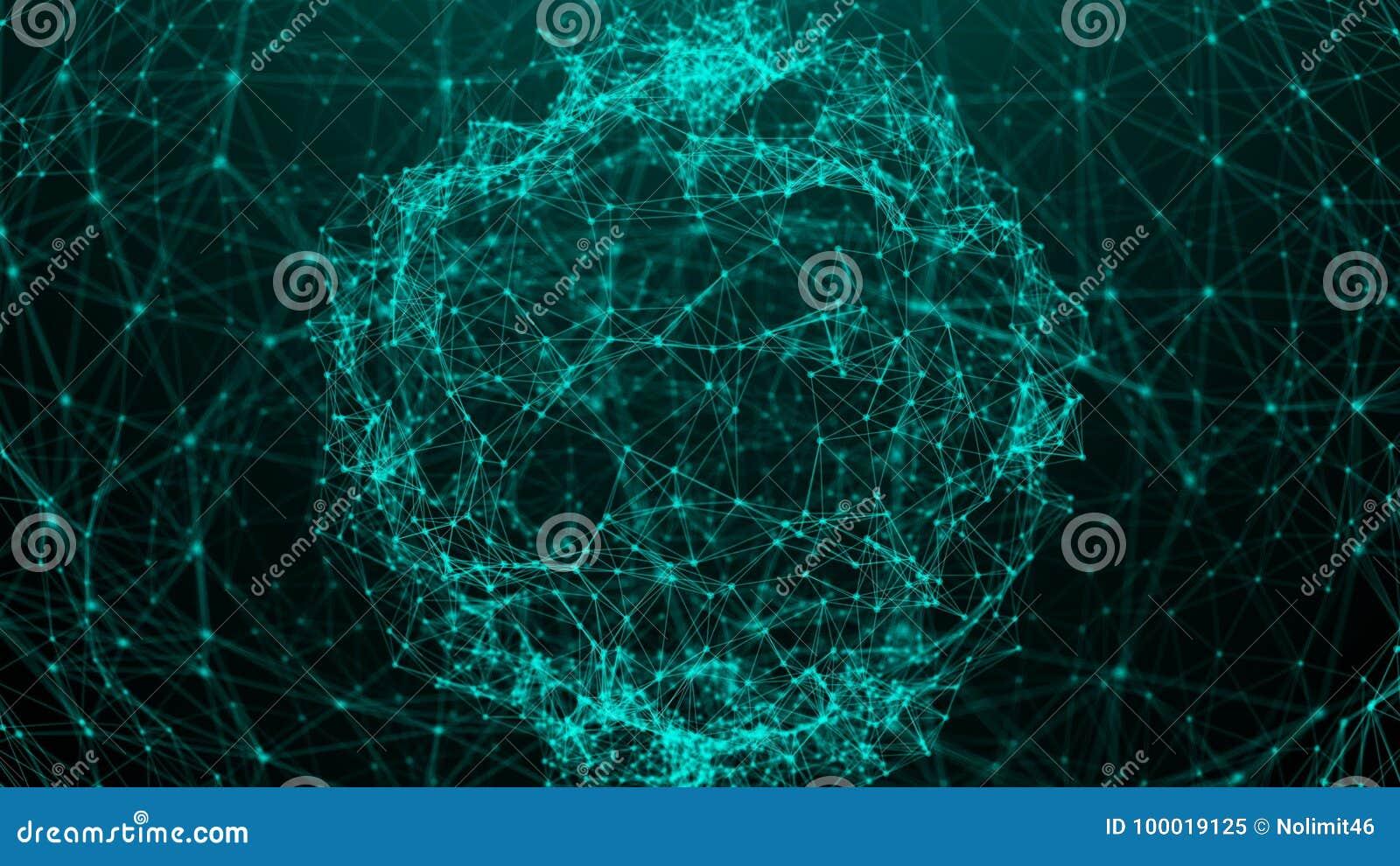 Fondo abstracto con los puntos de la conexión esfera digital