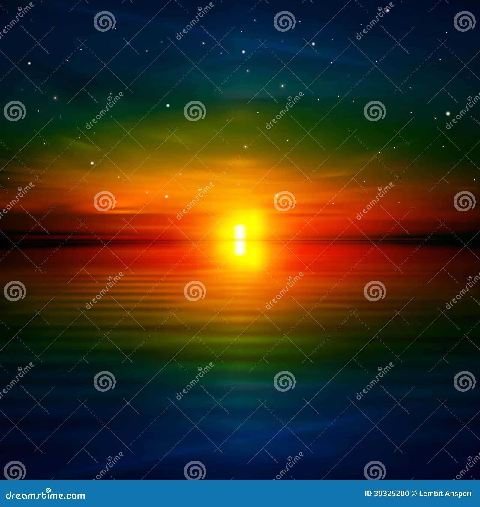 Fondo abstracto con salida del sol del mar ilustraci n del for Fondo del sol