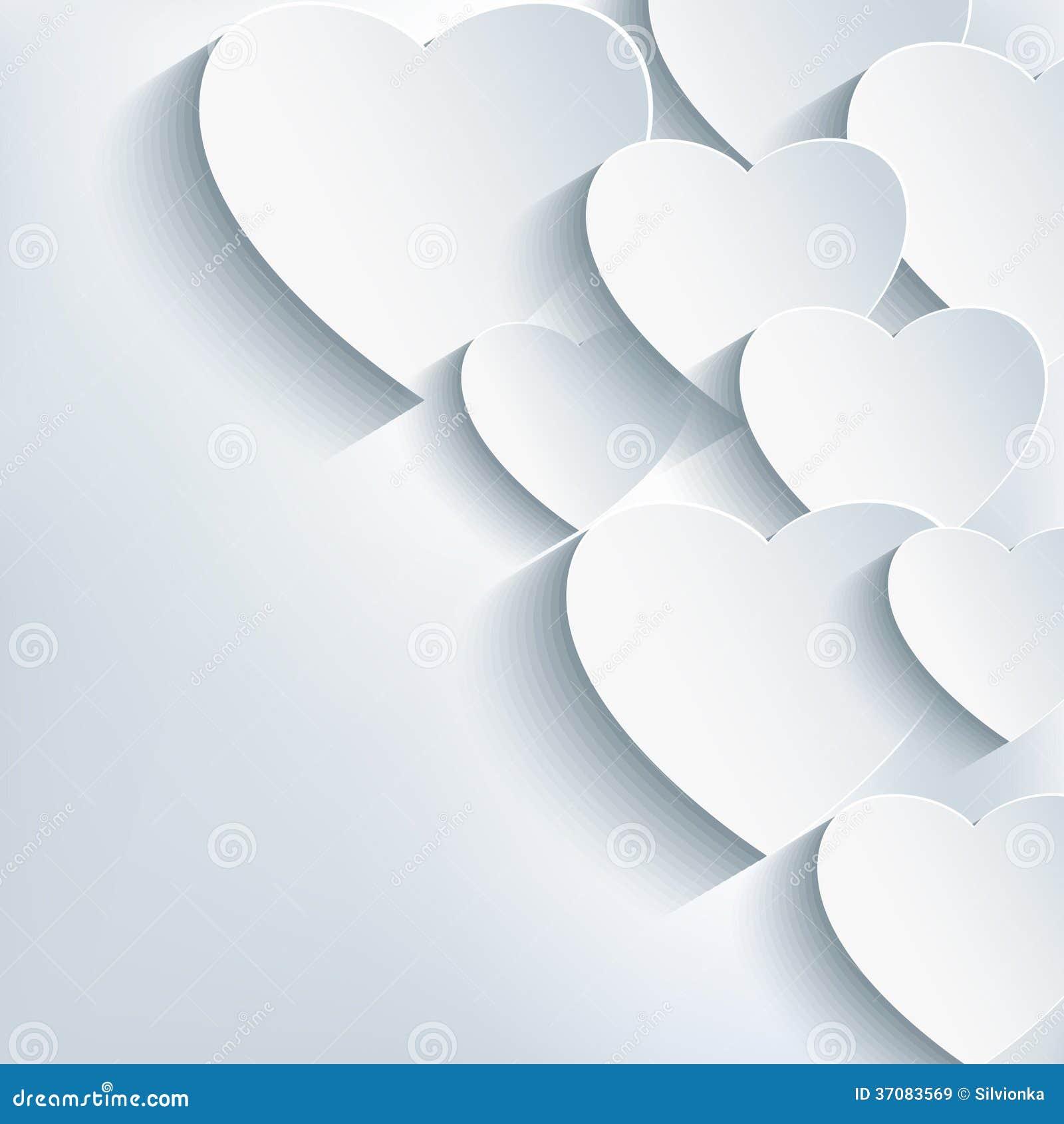 Fondo abstracto creativo elegante, corazón 3d
