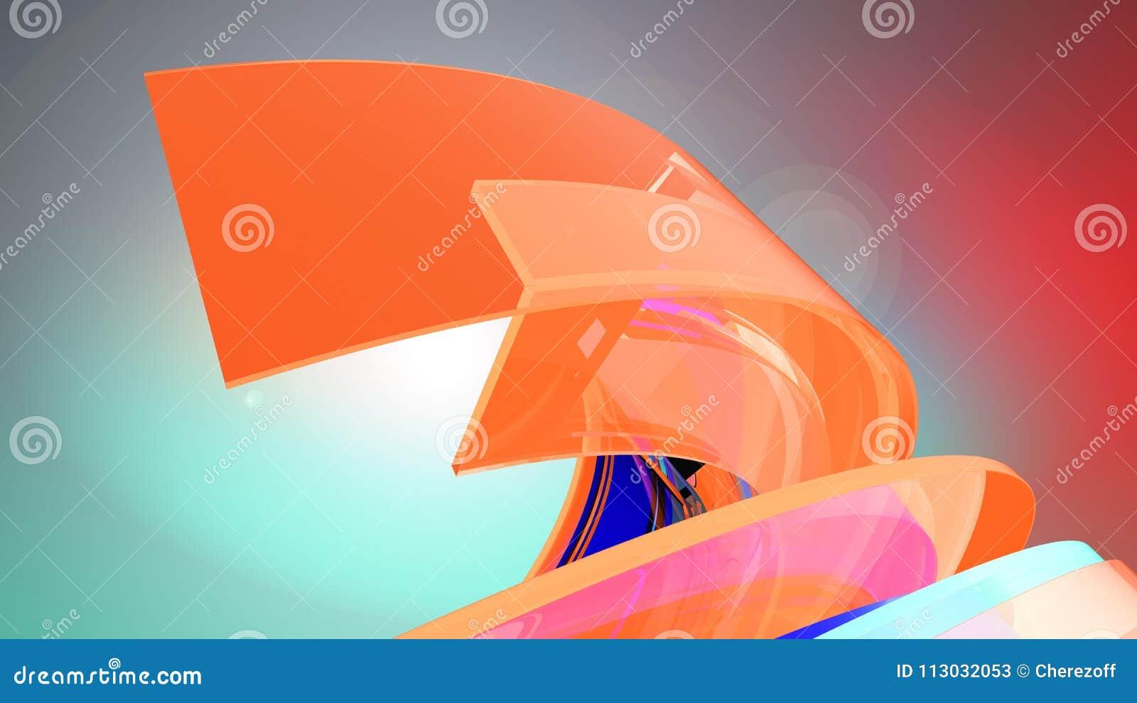 Fondo abstracto Curvy ilustración 3D