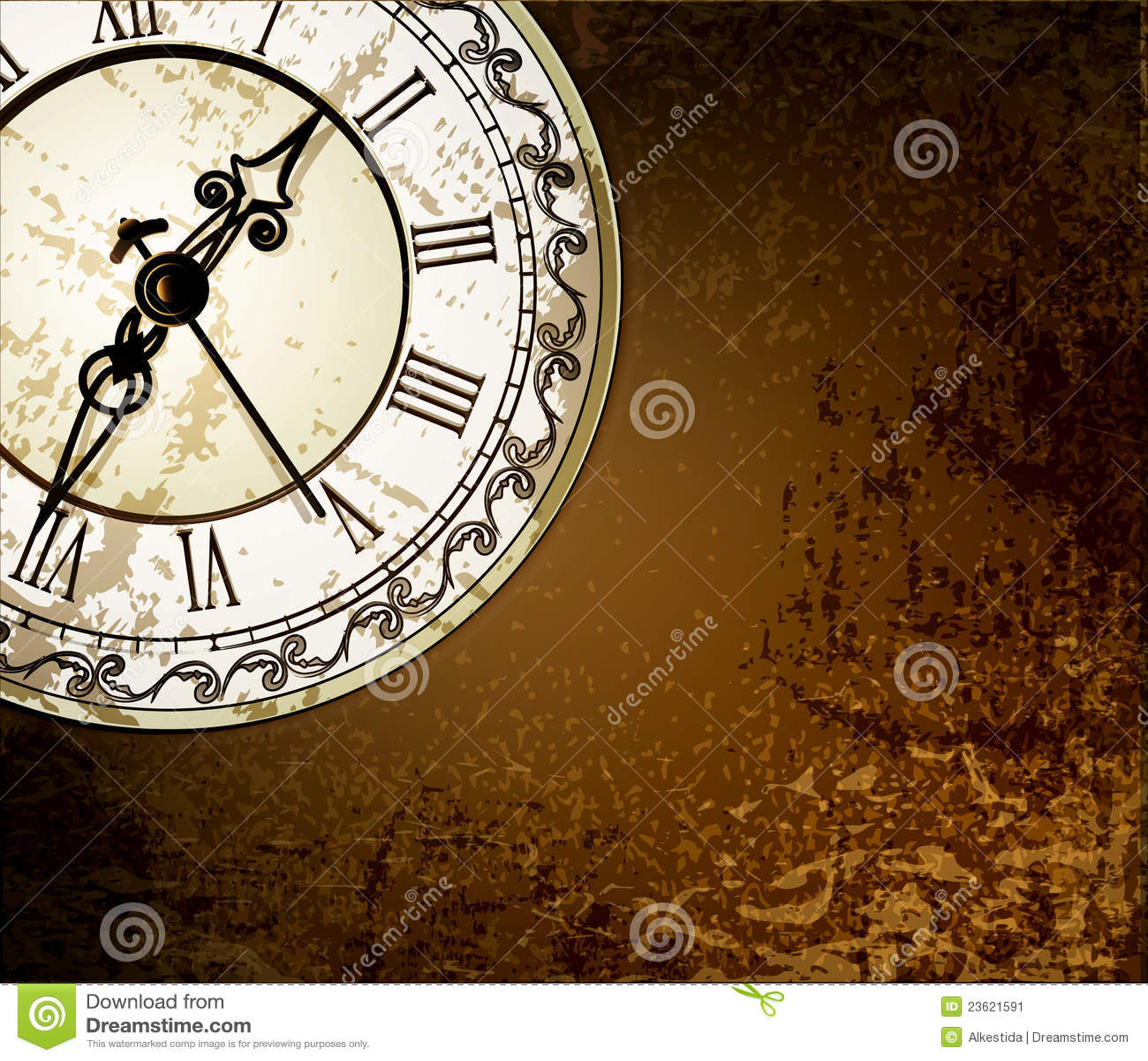 Fondo Abstracto De Grunge Con Los Relojes Antiguos Ilustración Del