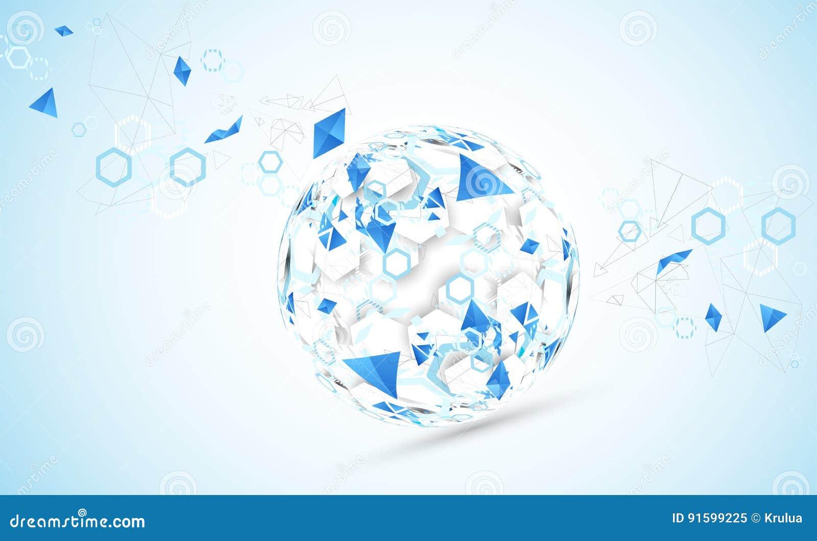 Fondo abstracto de la esfera de la tecnología Concepto de la red global