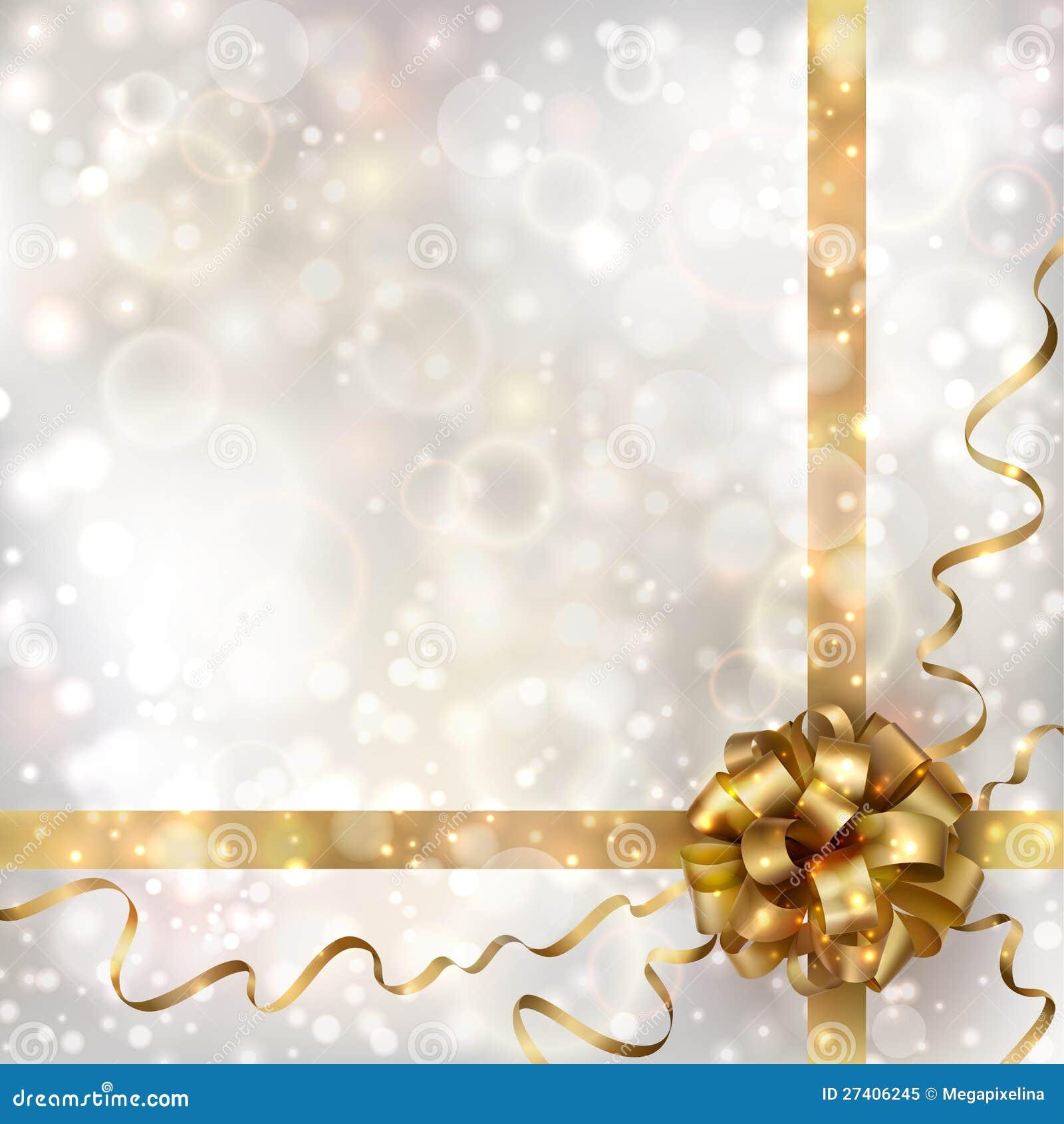 Fondo abstracto de la Navidad con el arqueamiento de oro