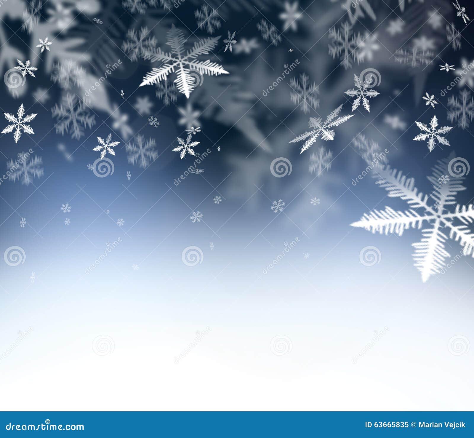 Fondo abstracto de la Navidad Copos de nieve que caen en el cielo abstracto azul Espacio libre para sus deseos de la Navidad y de