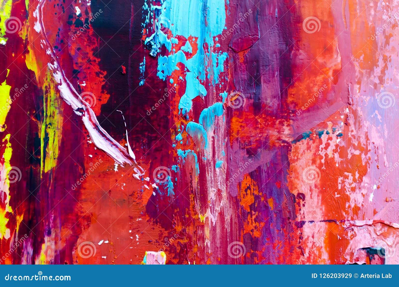Fondo abstracto de la pintura al óleo Aceite en textura de la lona Mano dibujada