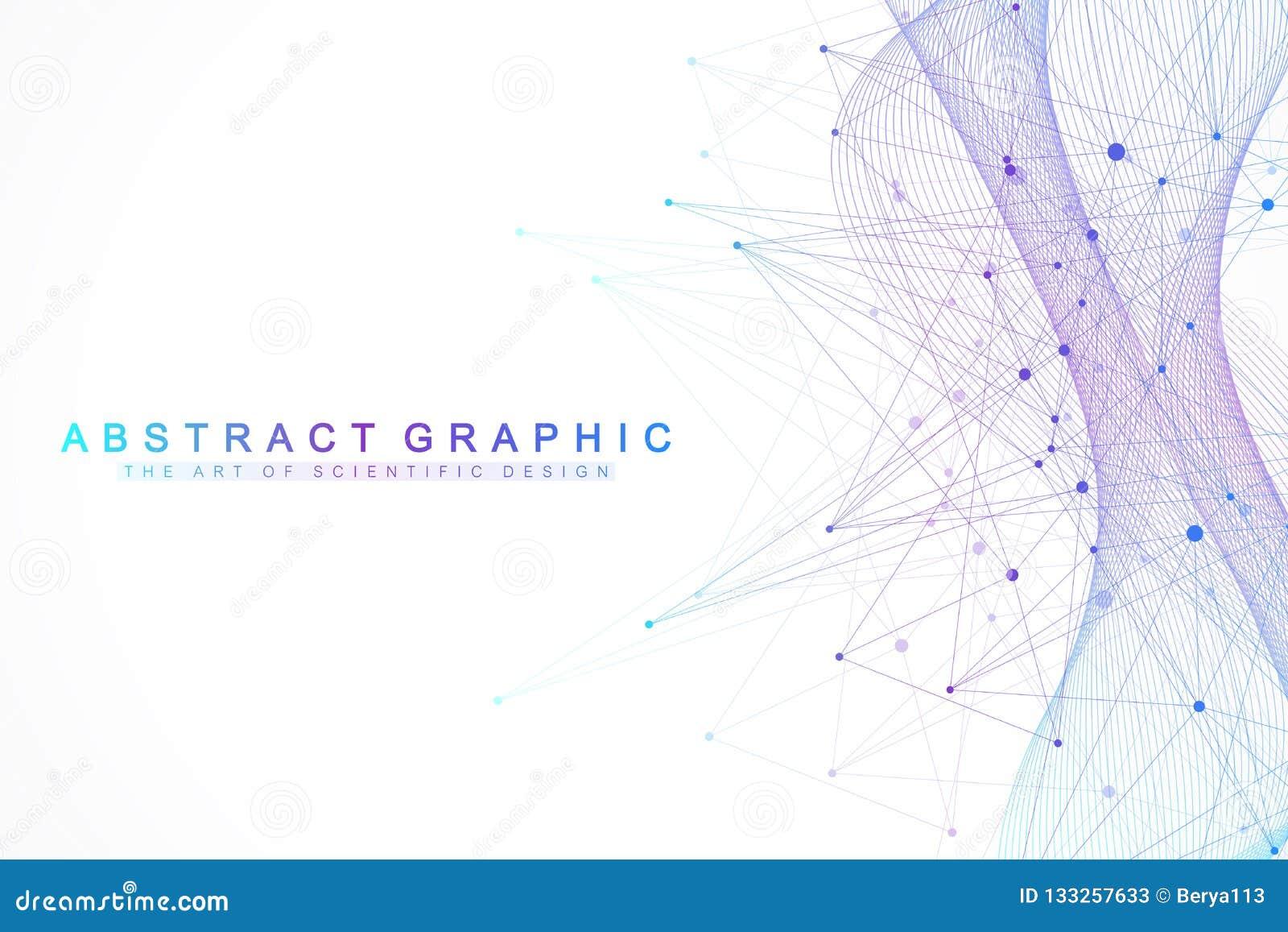 Fondo abstracto de la tecnología con la línea y los puntos conectados Visualización grande de los datos Inteligencia artificial y
