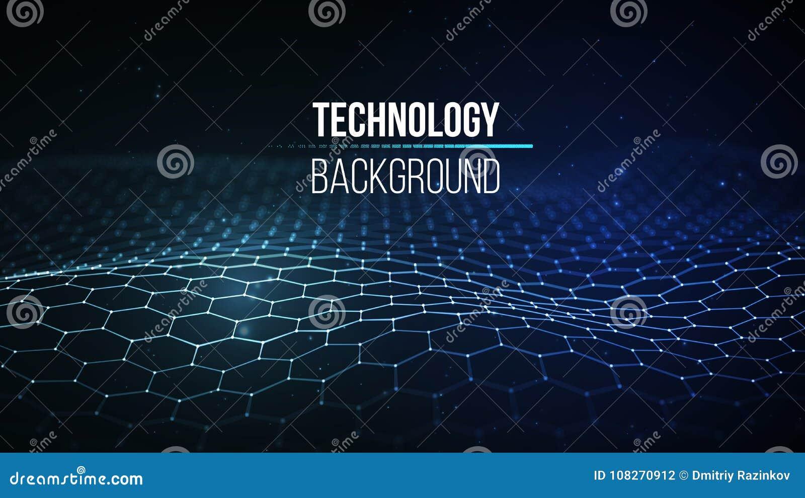 Fondo abstracto de la tecnología Rejilla del fondo 3d Wireframe futurista de la tecnología del Ai de la tecnología de la red cibe