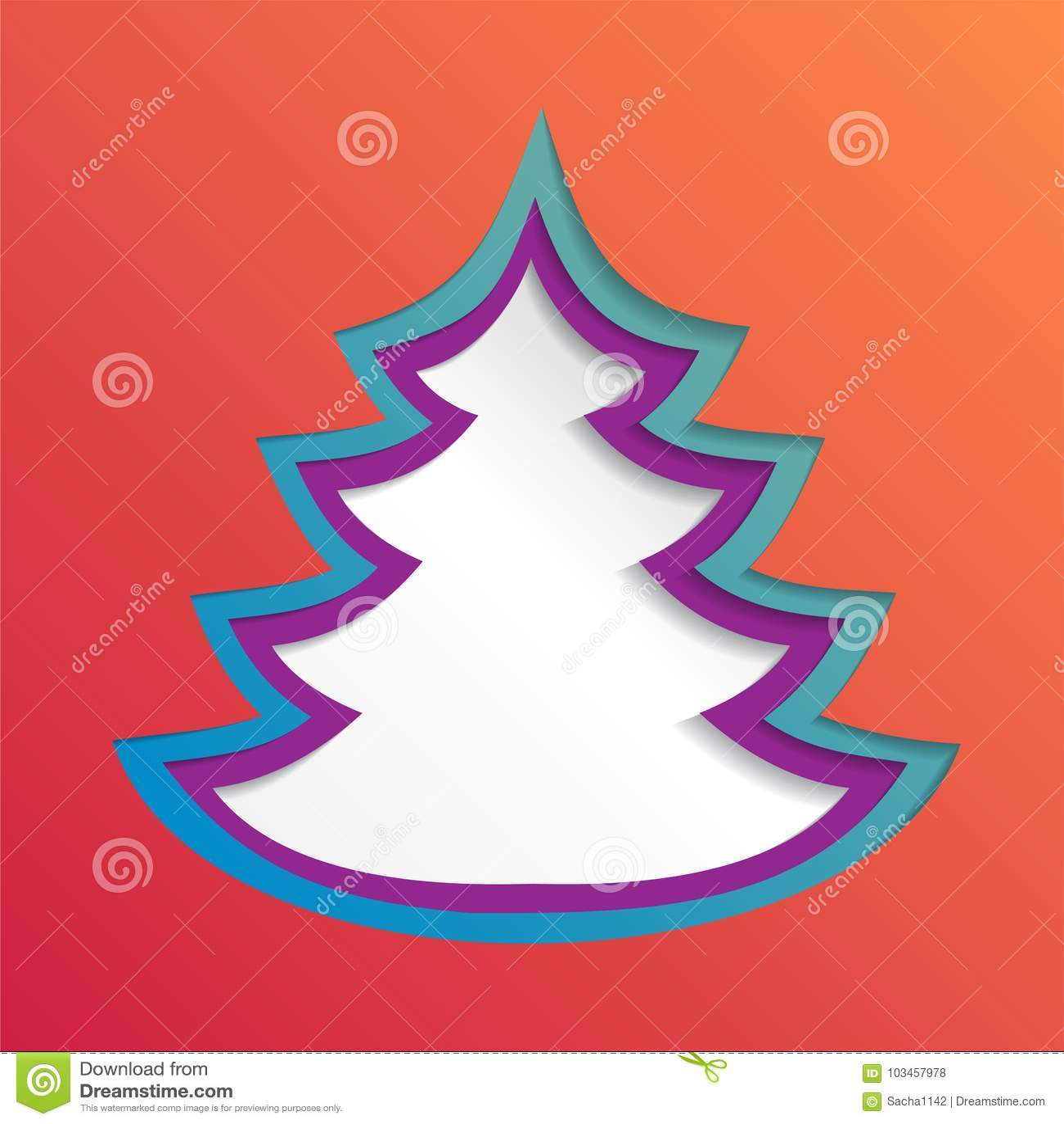 Fondo abstracto de papel creativo del árbol de navidad, ejemplo del vector eps10