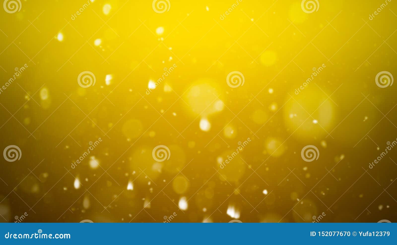 Fondo abstracto del bokeh del oro p?rticulas de polvo reales con las estrellas de llamarada reales de la lente luces del brillo
