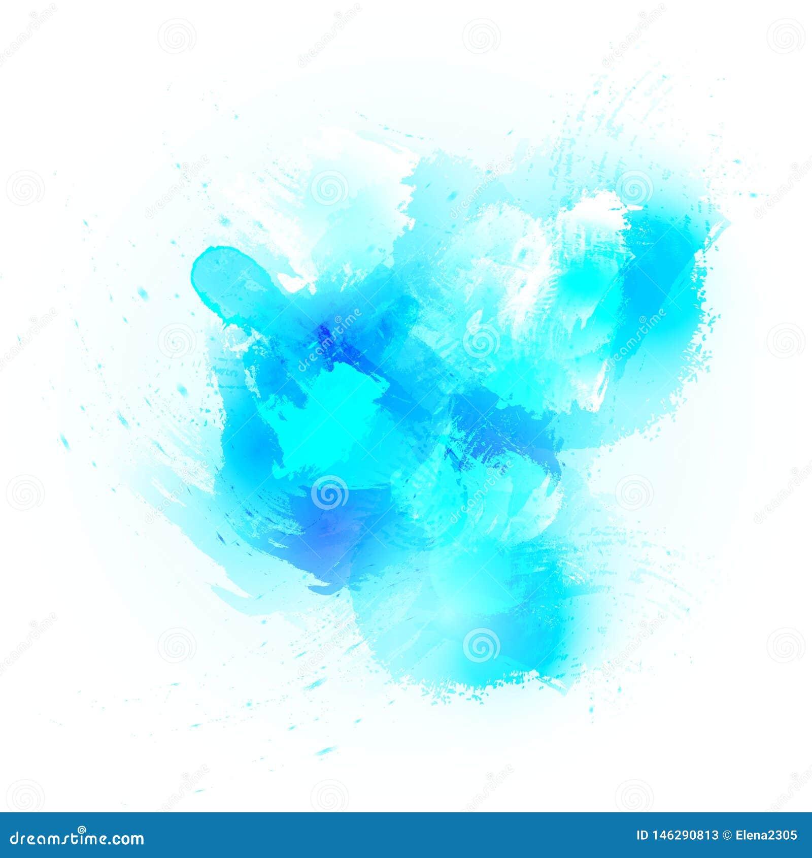 Fondo abstracto del chapoteo de la acuarela elemento del diseño en los colores azules para la bandera del título, del logotipo y