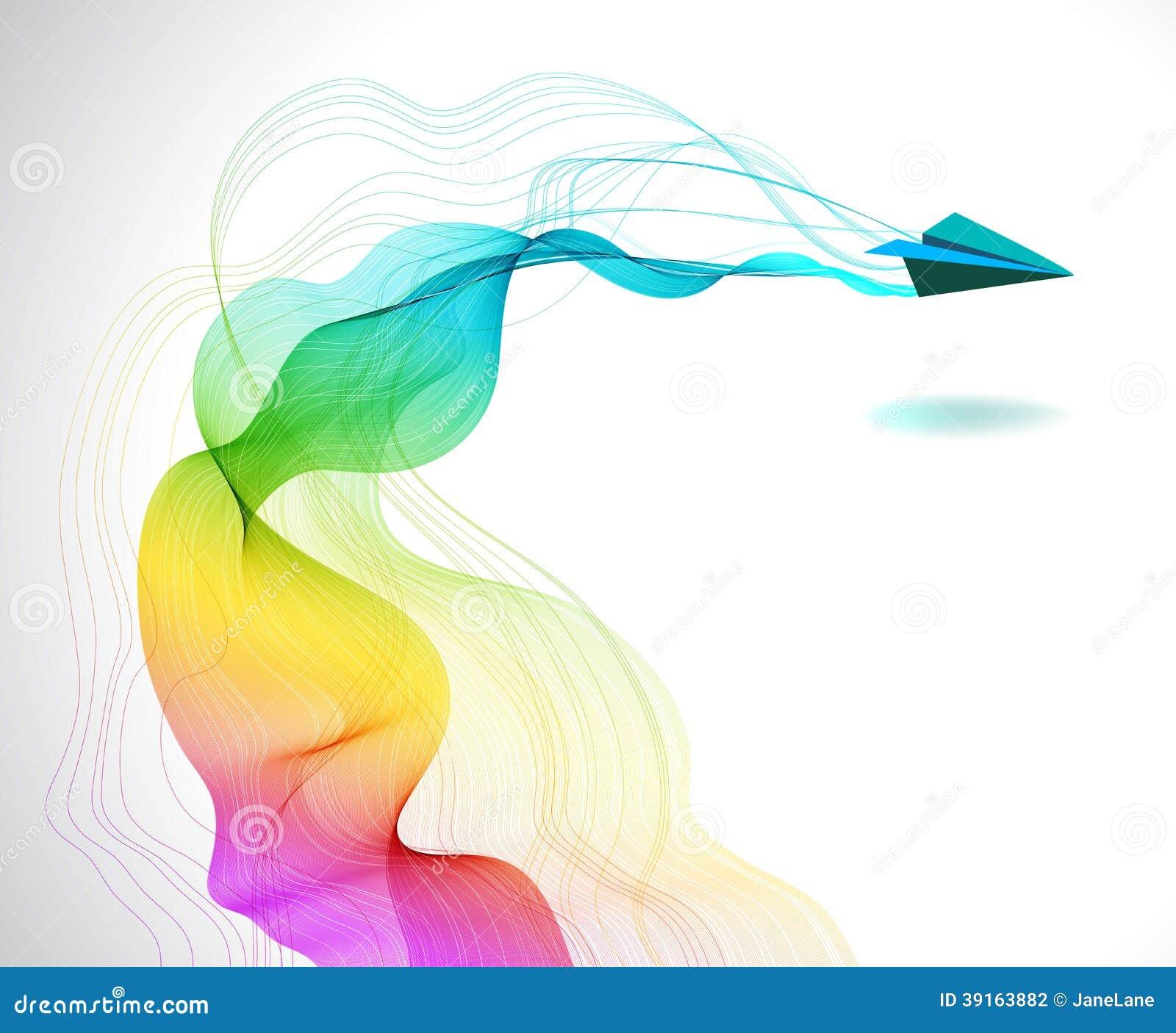 Fondo Abstracto Del Color Con El Avión De Aire De Papel Ilustración ...