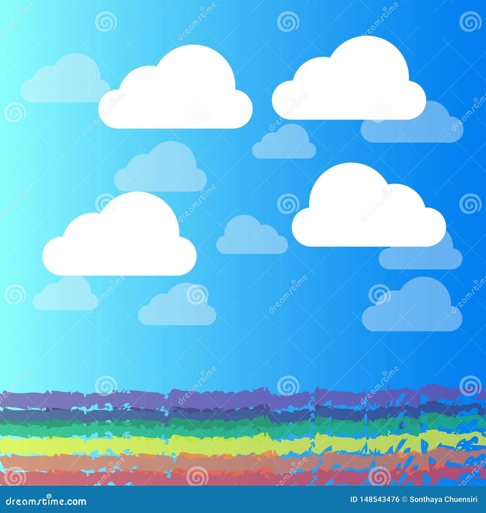 Fondo abstracto del ejemplo del vector de la nube y del cielo azul