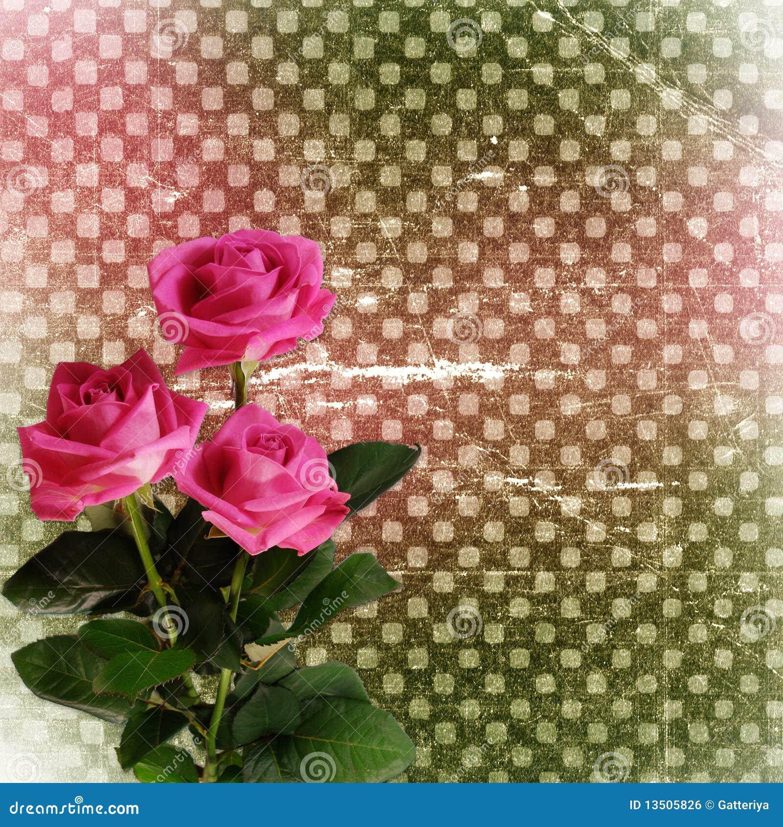 fondo abstracto del grunge con las rosas para el diseo