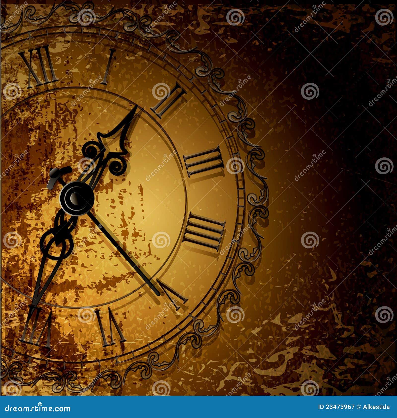 Fondo abstracto del grunge con los relojes antiguos - Relojes de pared clasicos ...