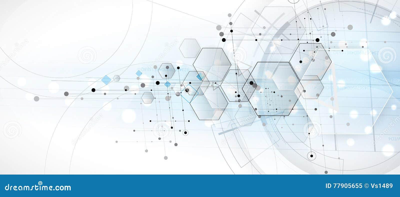 Fondo abstracto del hexágono Diseño poligonal de la tecnología Digita
