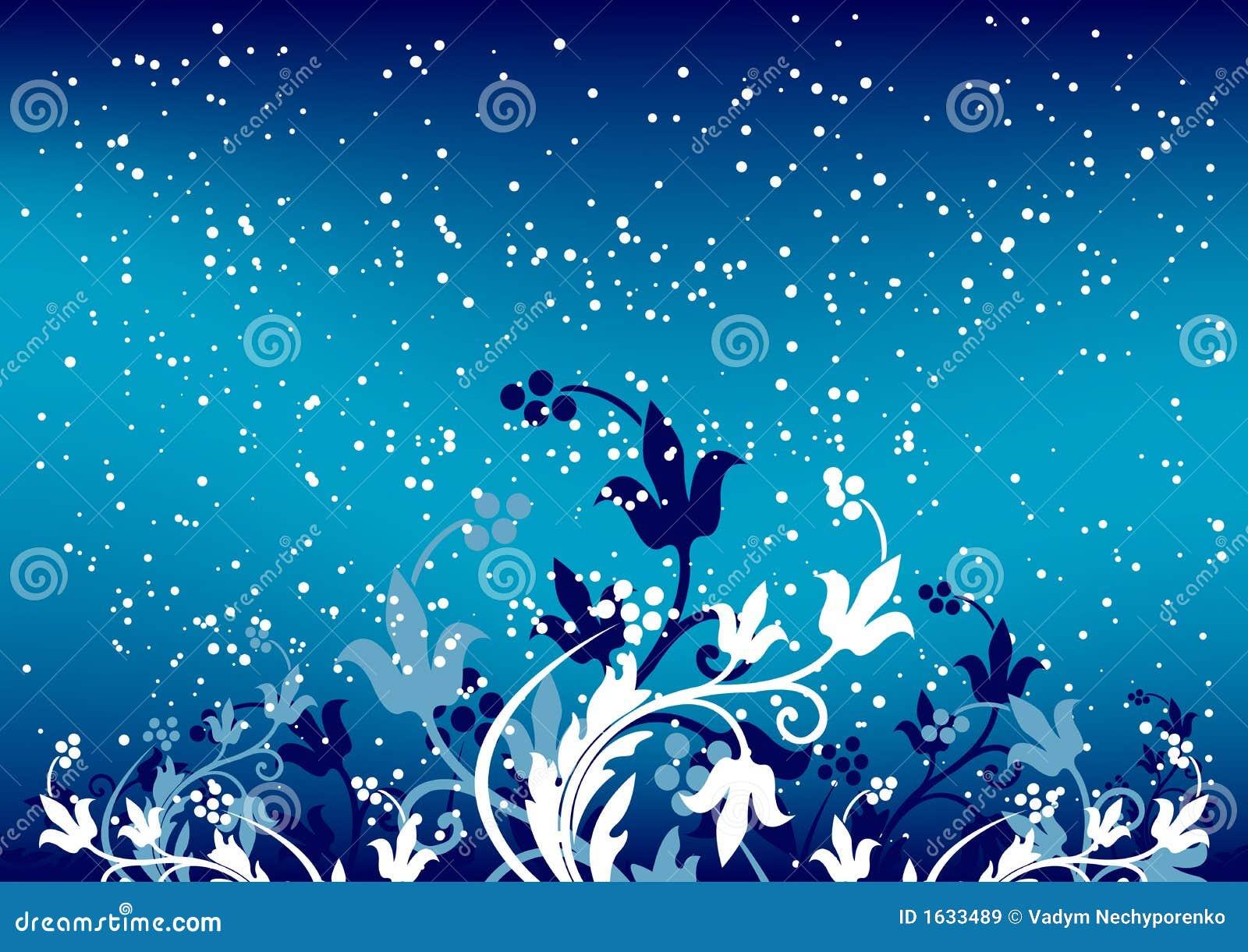 Fondo abstracto del invierno con las escamas y las flores en color azul