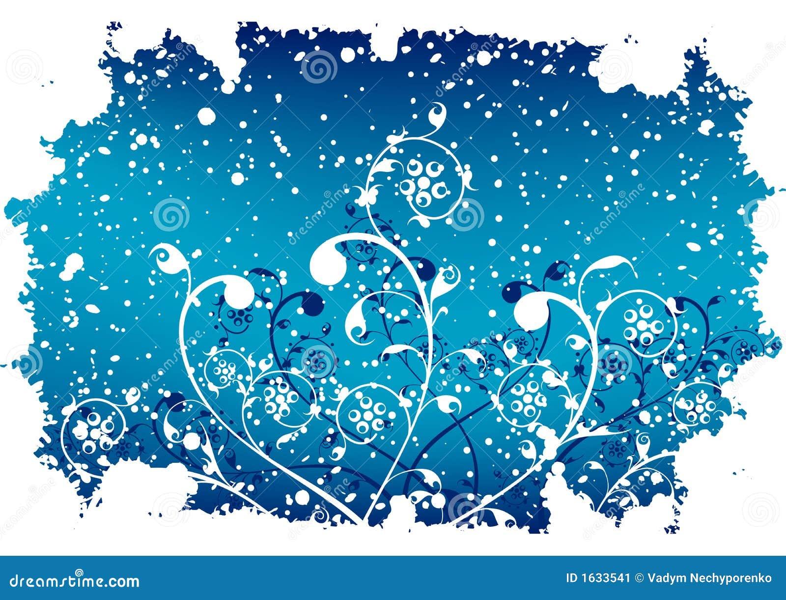 Fondo abstracto del invierno del grunge con las escamas y las flores en azul