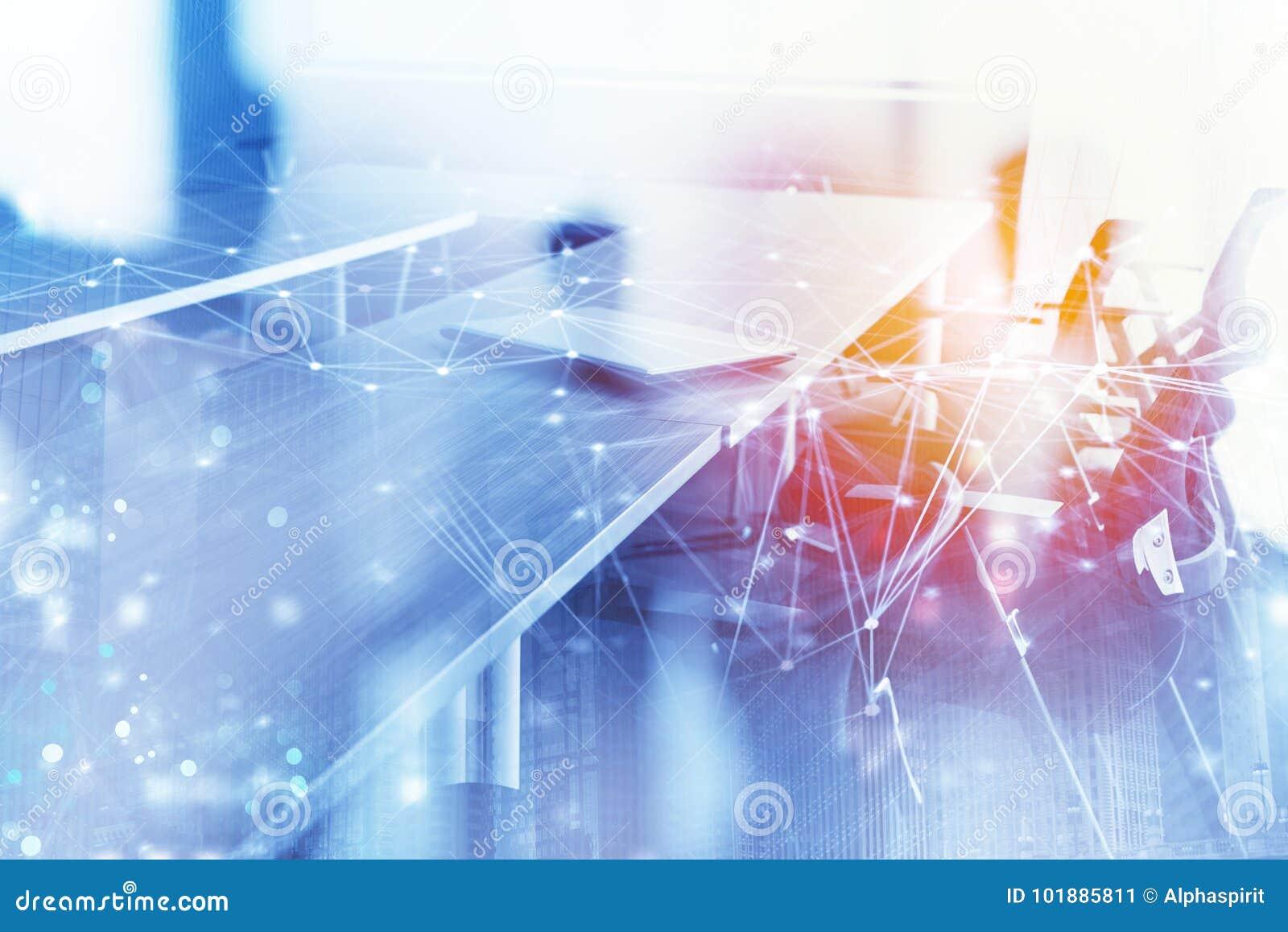 Fondo abstracto del negocio con la sala de reunión y el efecto del Internet Exposición doble