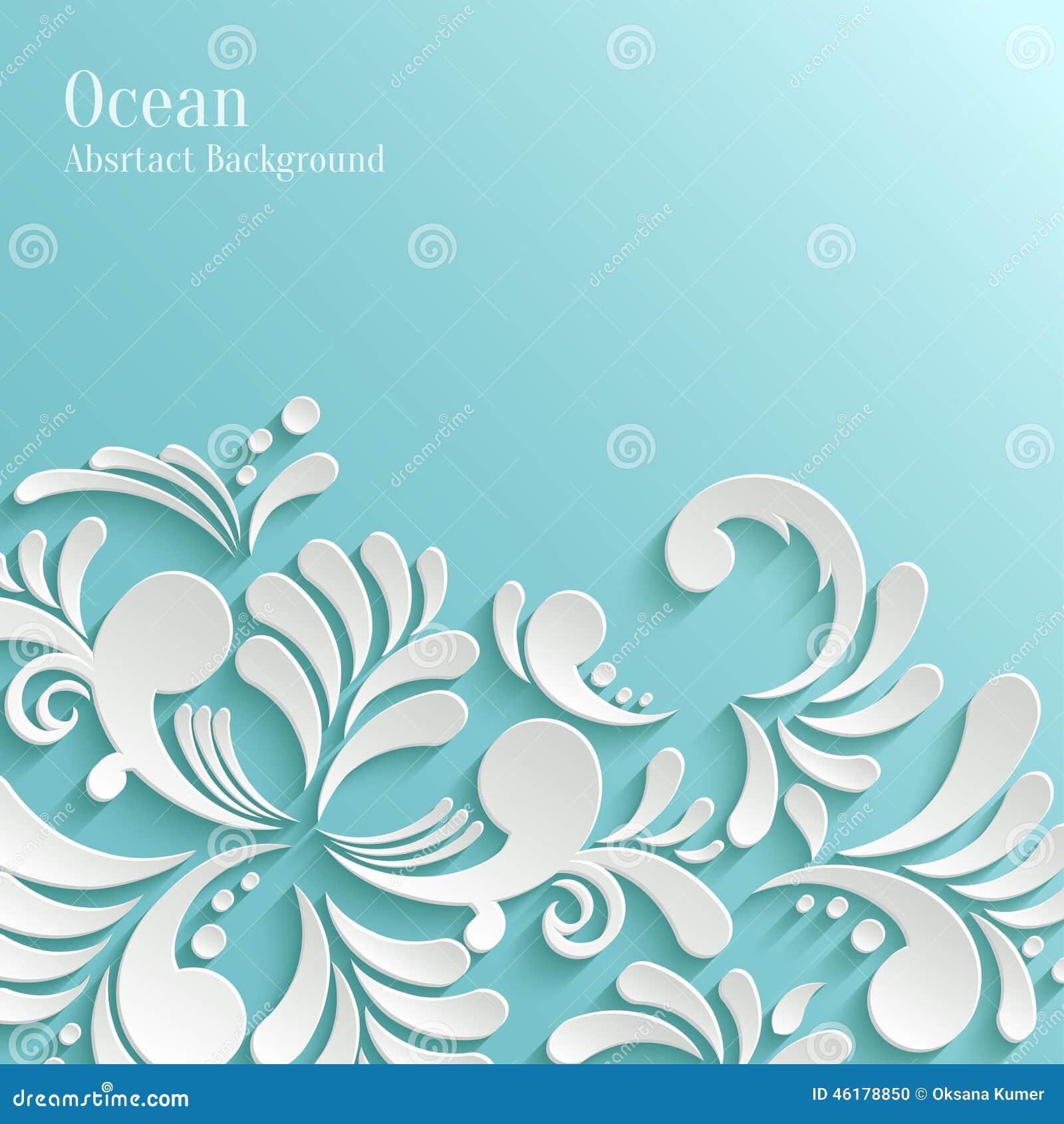 Fondo abstracto del océano con el estampado de flores 3d