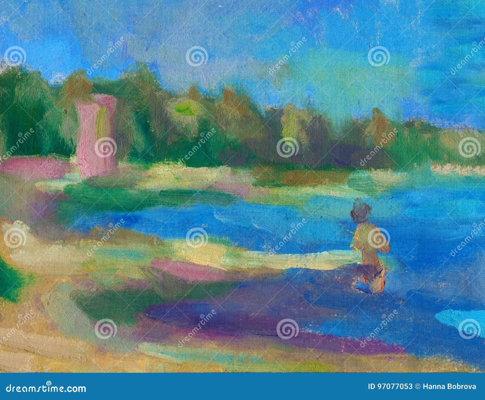 Fondo abstracto del paisaje de la pintura al leo pintura - Pintura al aceite ...