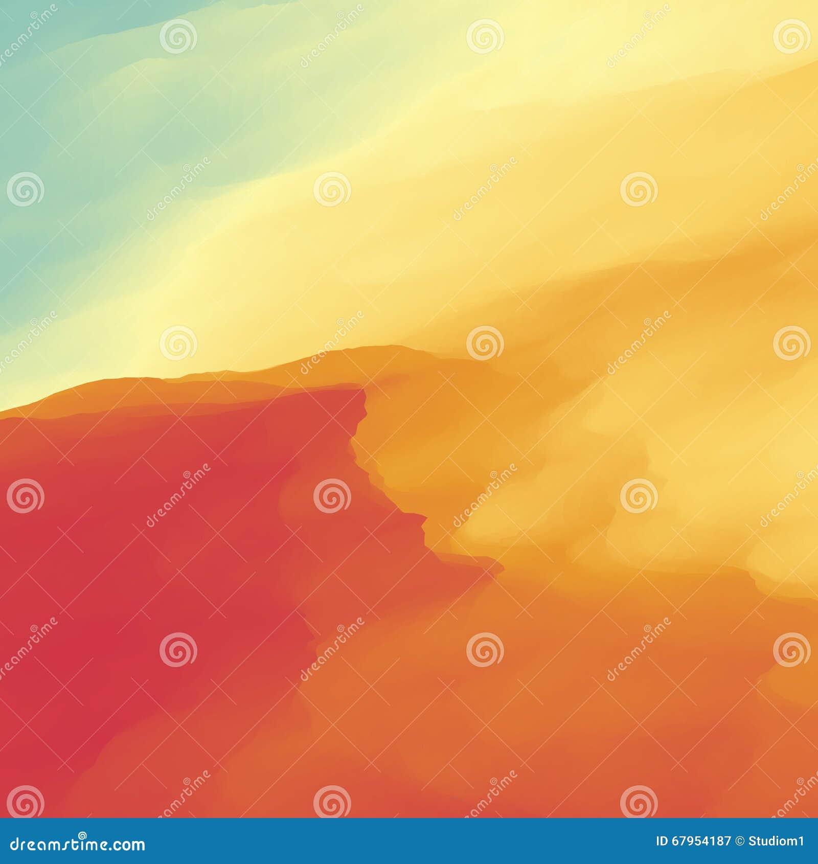 Fondo abstracto del paisaje del desierto Ilustración del vector Duna de arena Desierto con las dunas y las montañas Paisaje del d