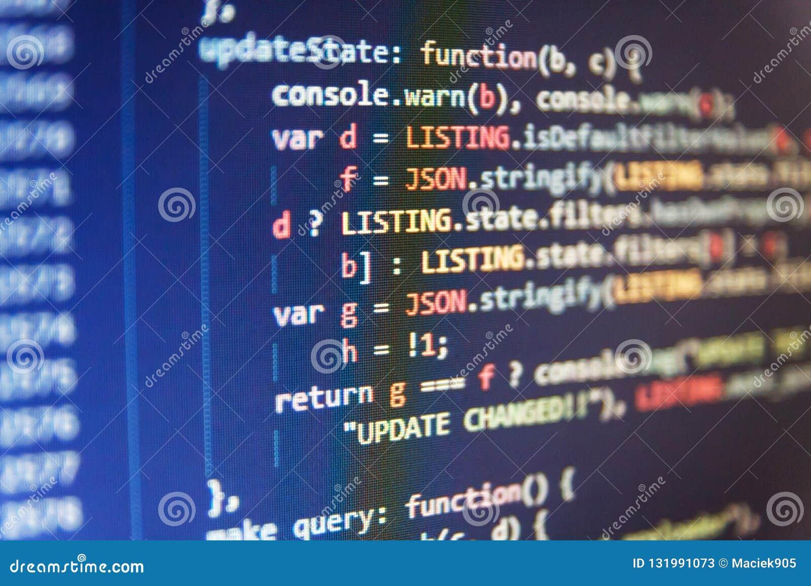 Fondo abstracto del software El corregir del código de los dígitos binarios Fondo abstracto del código fuente