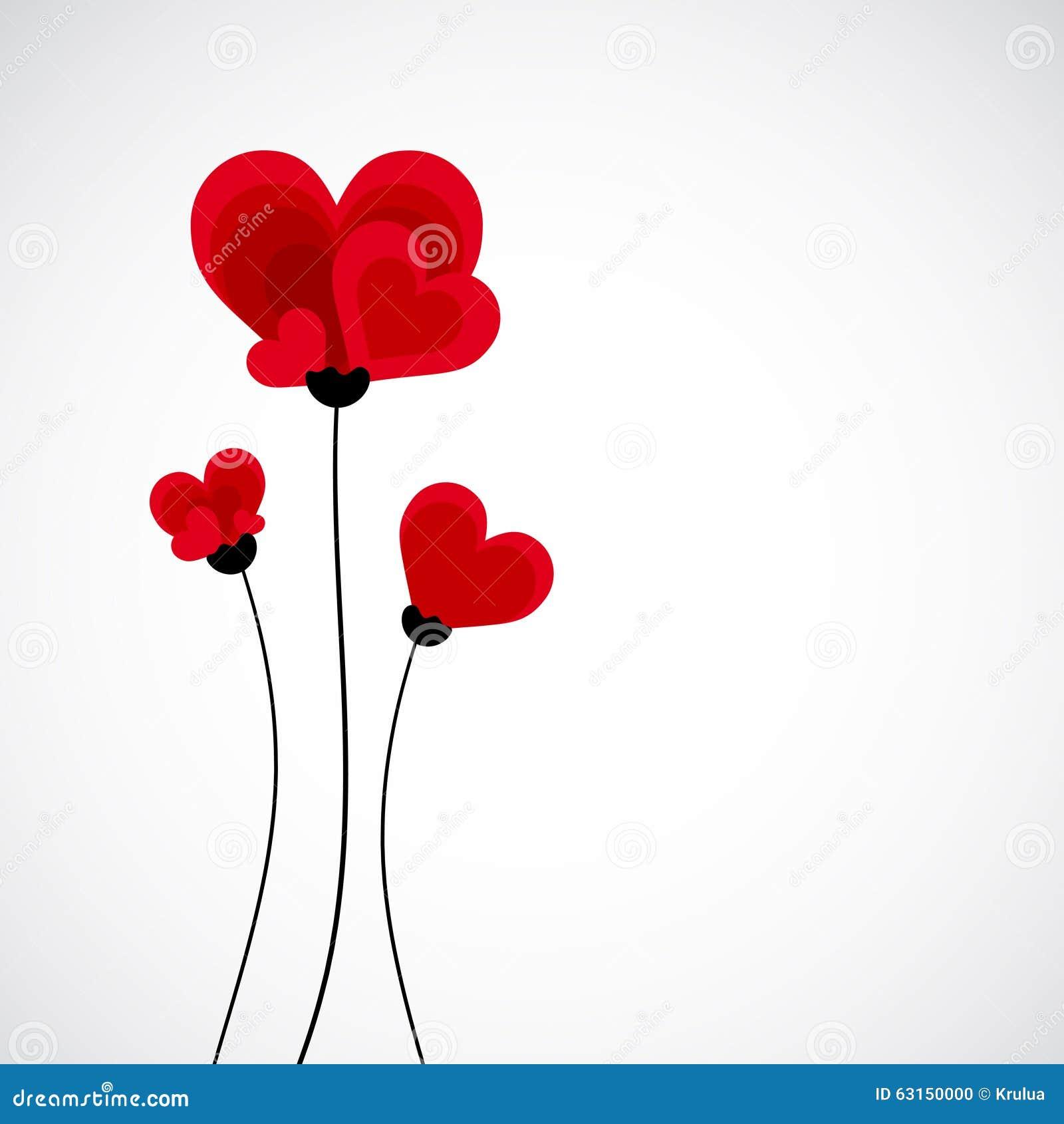Fondo Abstracto Del Vector Flores Hechas Con Forma Del Corazón