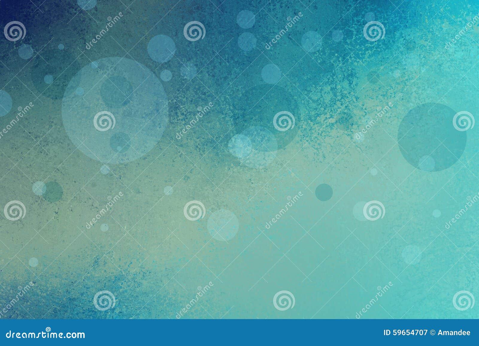 Fondo abstracto del verde azul con las burbujas o los círculos y la textura flotantes del grunge