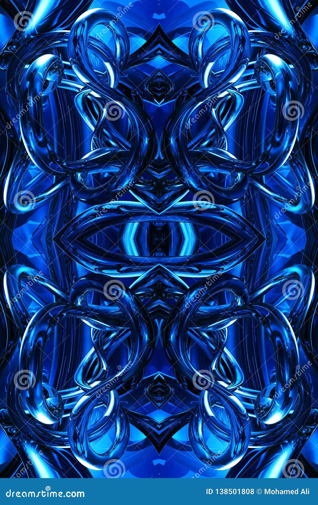 Fondo abstracto enérgico futurista moderno azul generado por ordenador único artístico de las ilustraciones de los fractales 3d