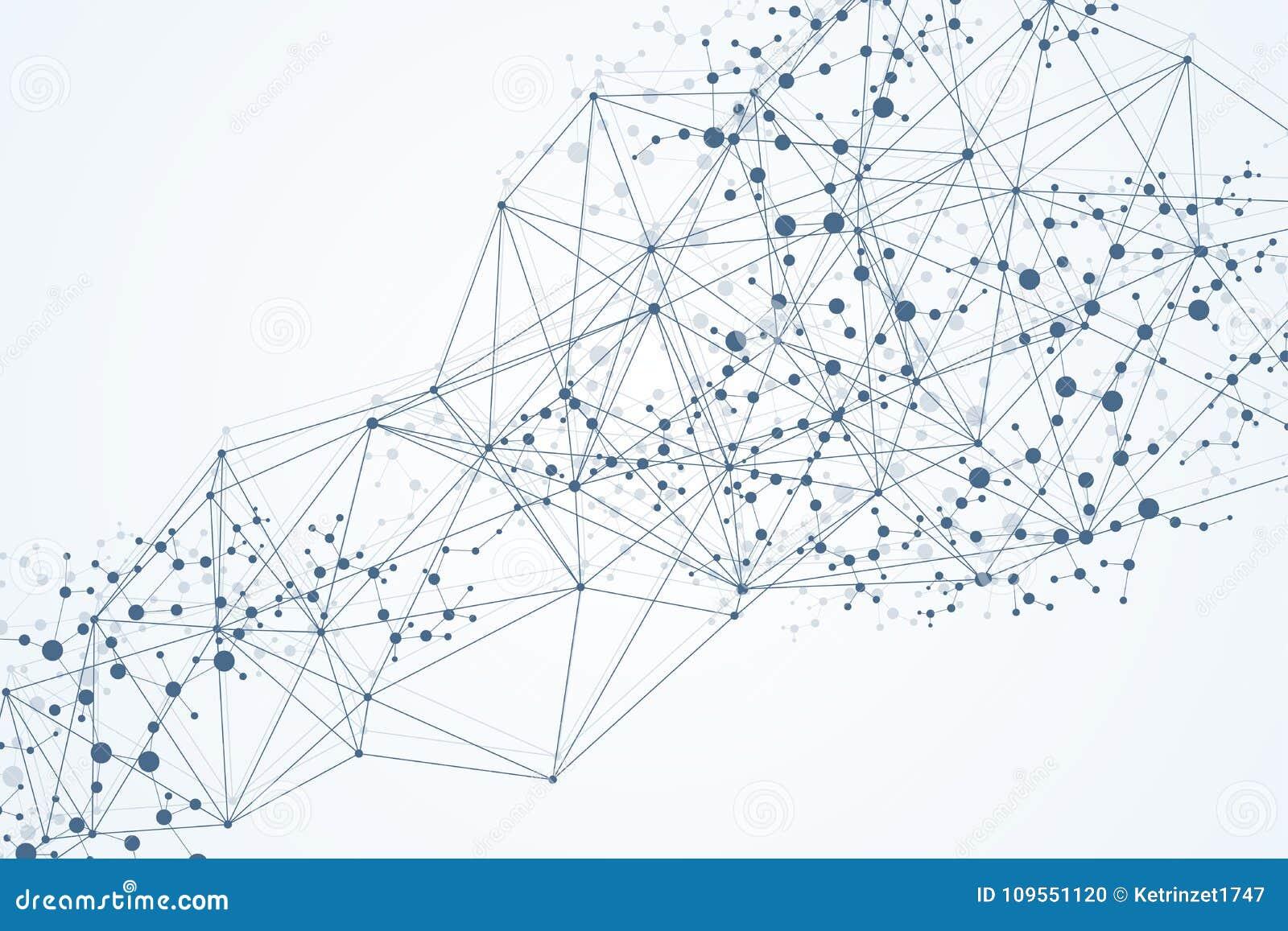 Fondo abstracto geométrico con la línea y los puntos conectados Molécula y comunicación de la estructura Visualización grande de