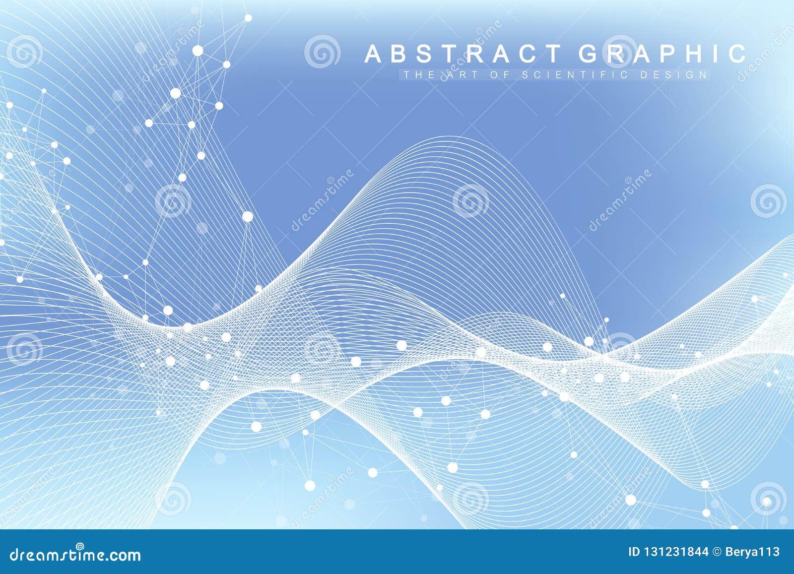 Fondo abstracto geométrico con las líneas y los puntos conectados Flujo de la onda Molécula y fondo de la comunicación gráfico