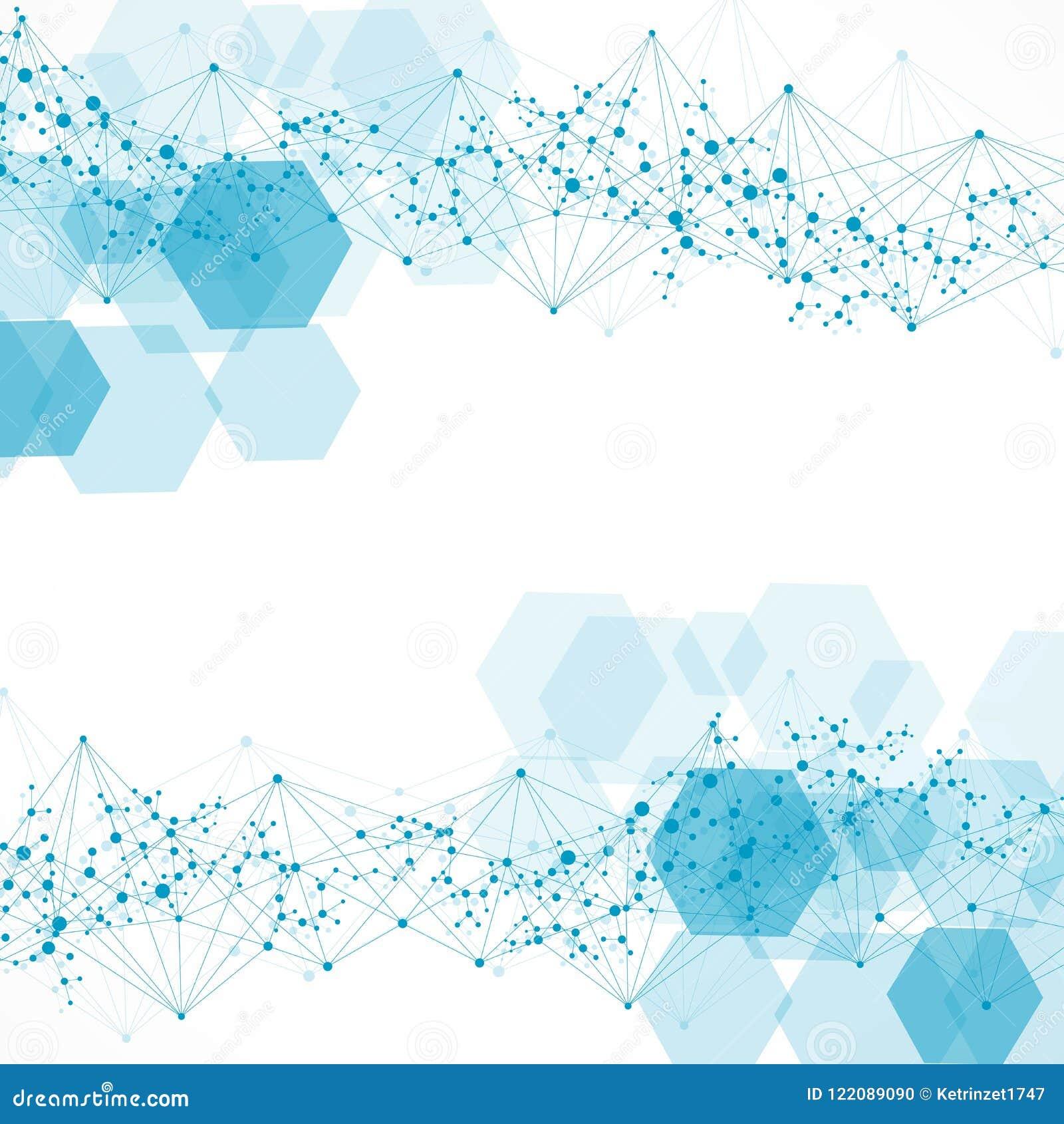 Fondo Abstracto Hexagonal Visualización Grande De Los Datos Conexión ...