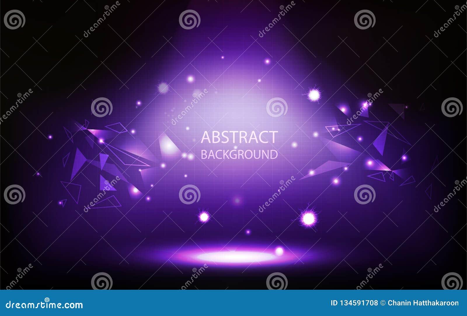 Fondo abstracto, proyector violeta en el sitio, pared de la rejilla, concepto del polígono del triángulo con el ejemplo del vecto