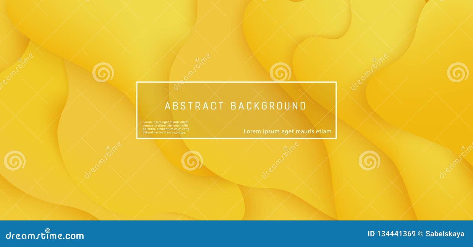 Fondo acodado pendiente amarilla brillante con la composición líquida geométrica de las formas de onda