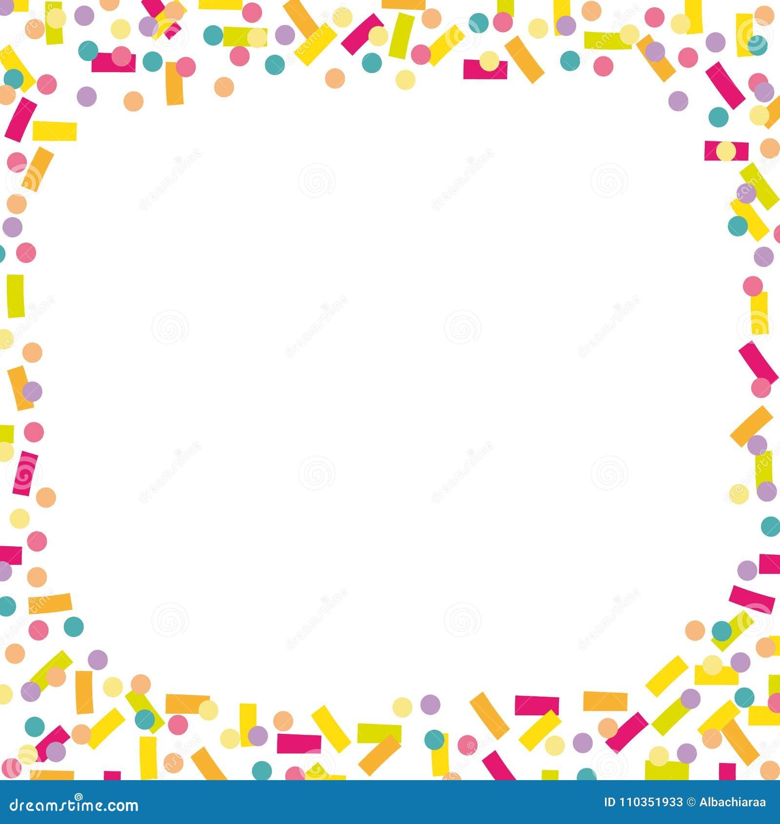 Fondo alegre y colorido del confeti y de las flámulas