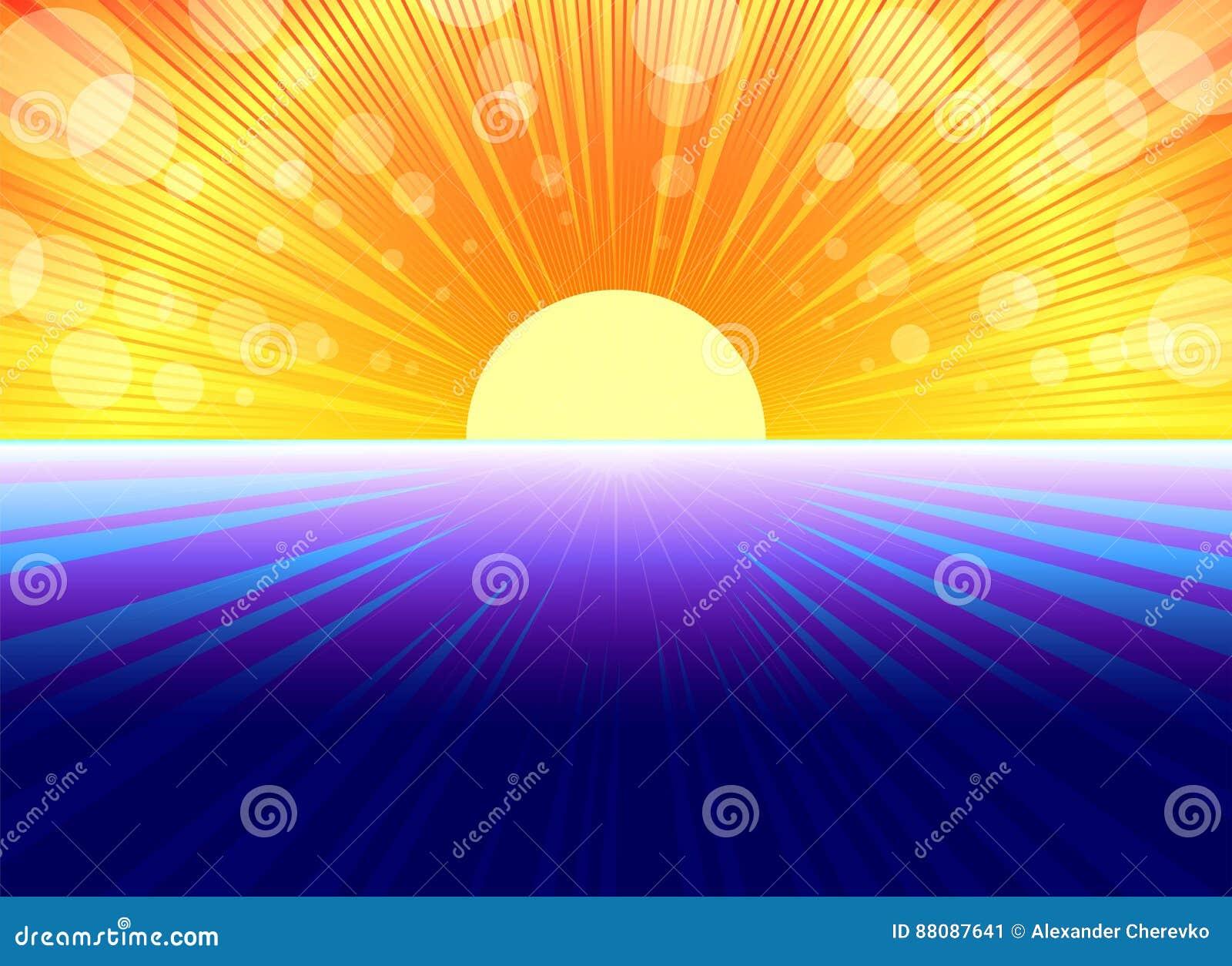Fondo amarillo azul con los rayos del sol ilustraci n del for Fondo del sol