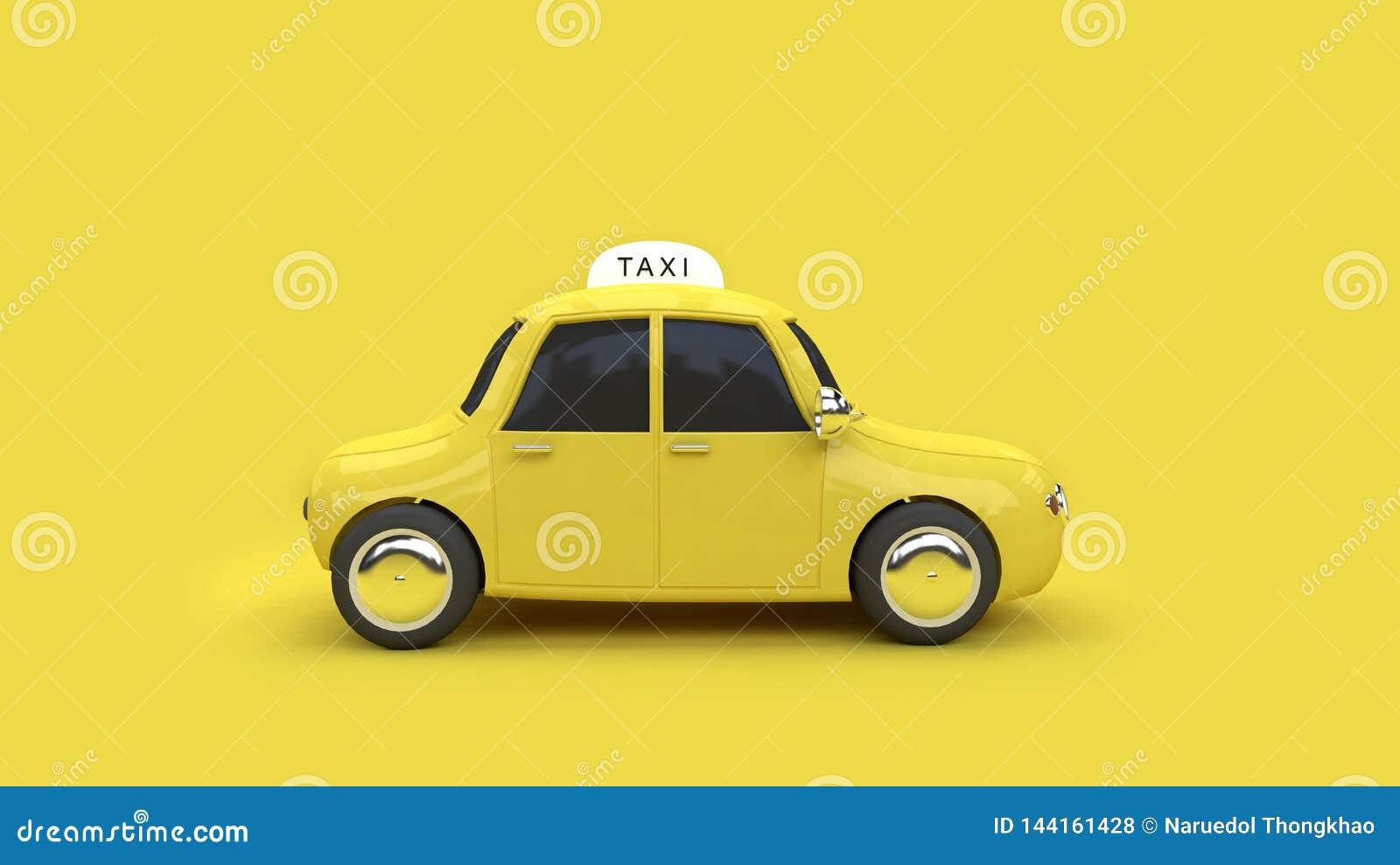 Fondo amarillo 3d del taxi 3d del transporte del viaje de la ciudad del concepto amarillo de la comunicación rendir