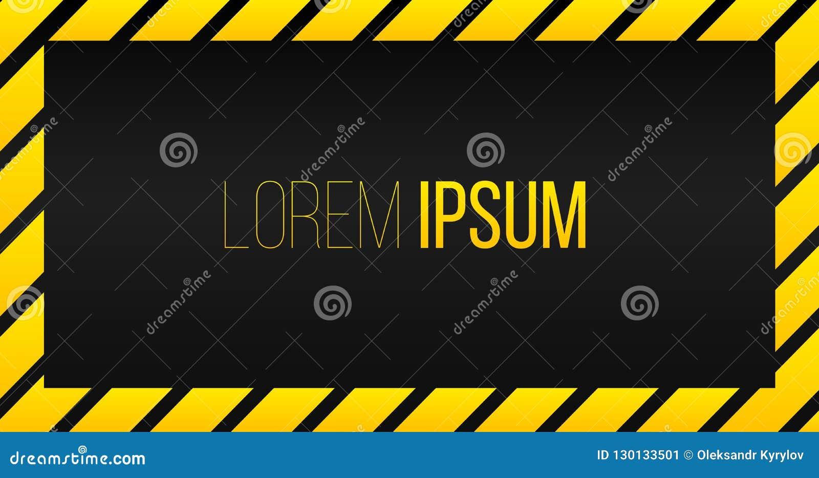 Fondo amarillo de cuidado de la plantilla del marco de la raya negra con el espacio para el texto, toldo rayado amarillo, marco d