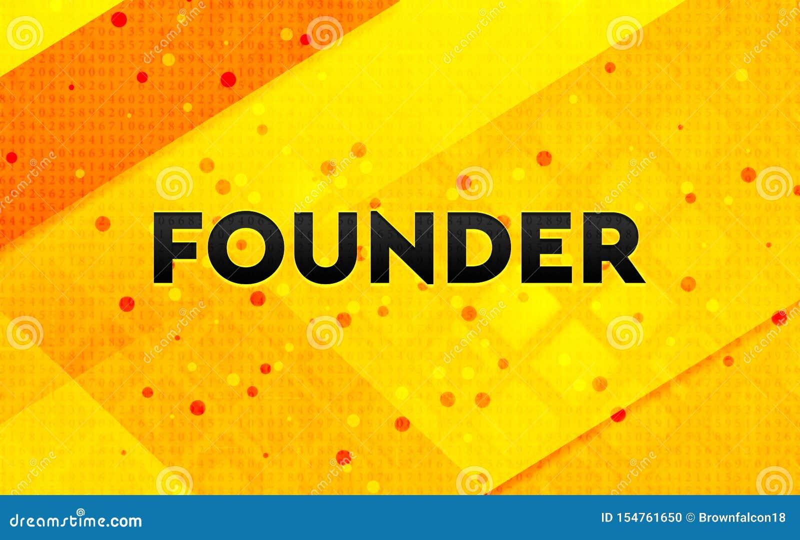 Fondo amarillo de la bandera digital del extracto del fundador