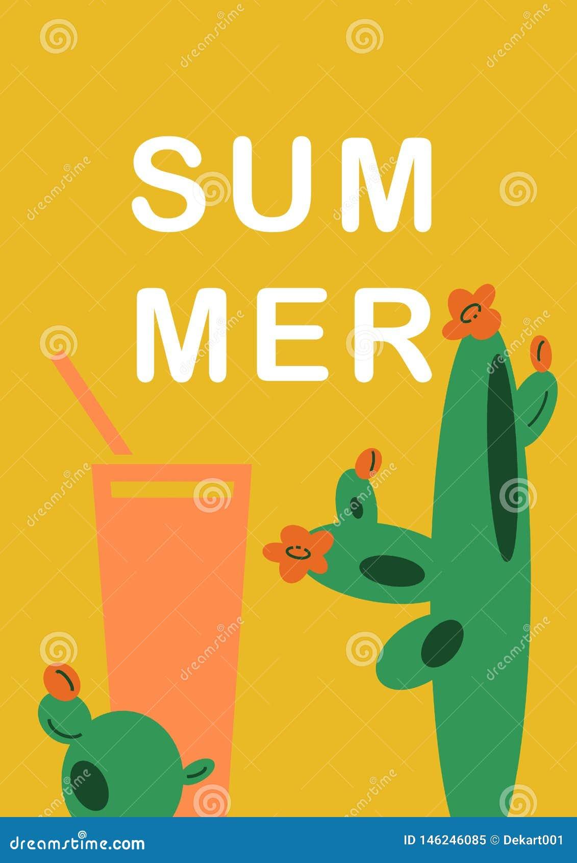 Fondo amarillo del ejemplo a mano con los cactus mexicanos y bebida en estilo plano de la historieta