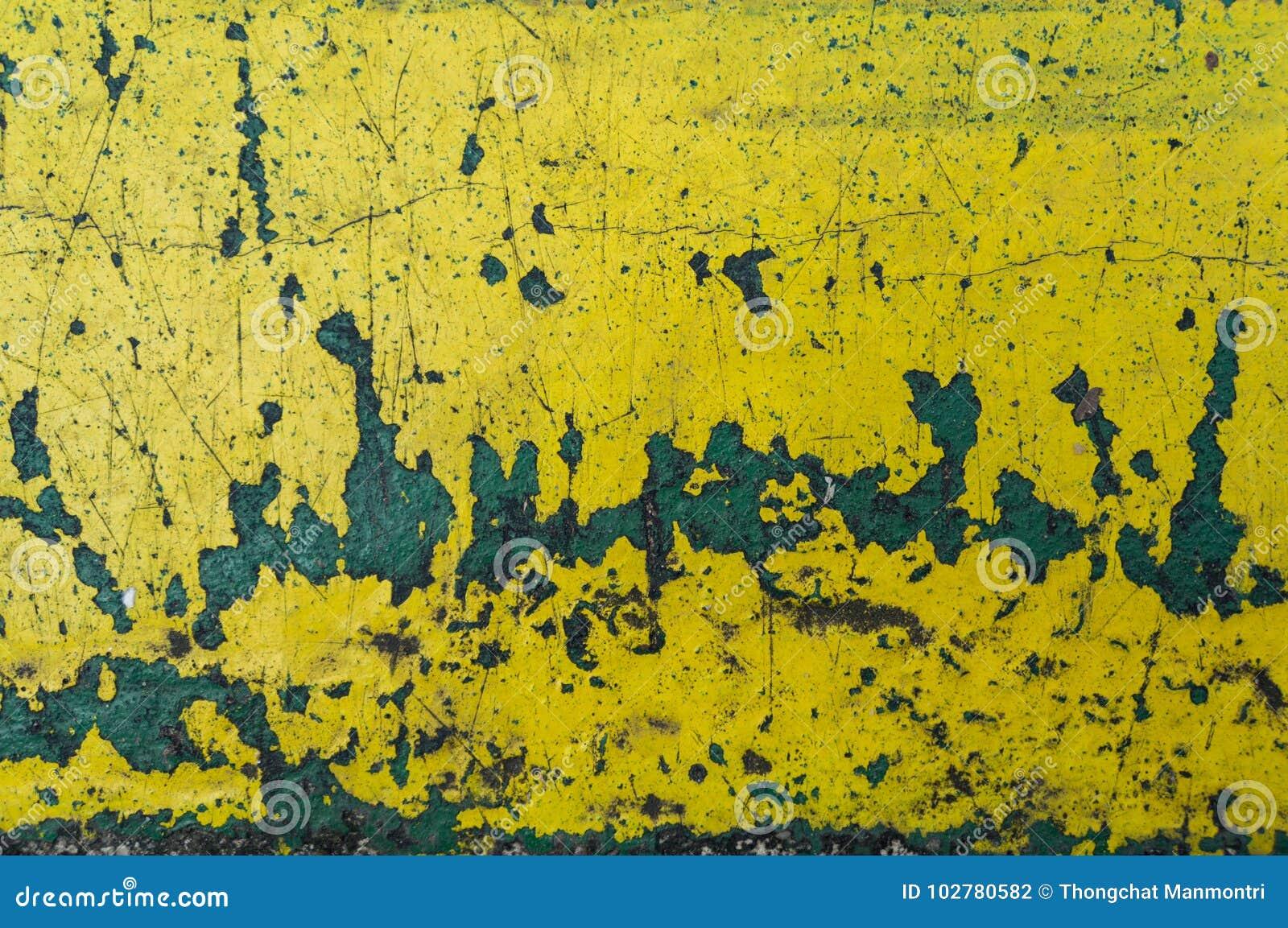 Fondo amarillo del extracto de la textura del rasguño Moho y p de la peladura