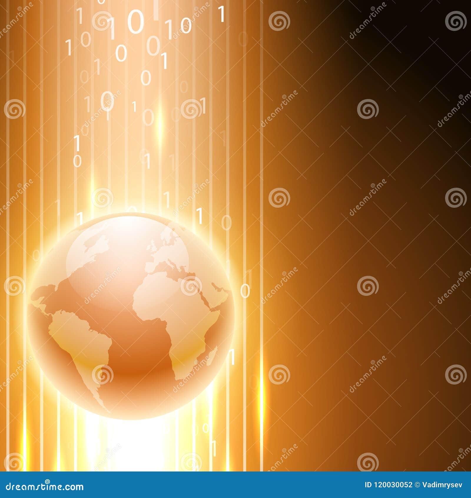 Fondo anaranjado con código binario al globo