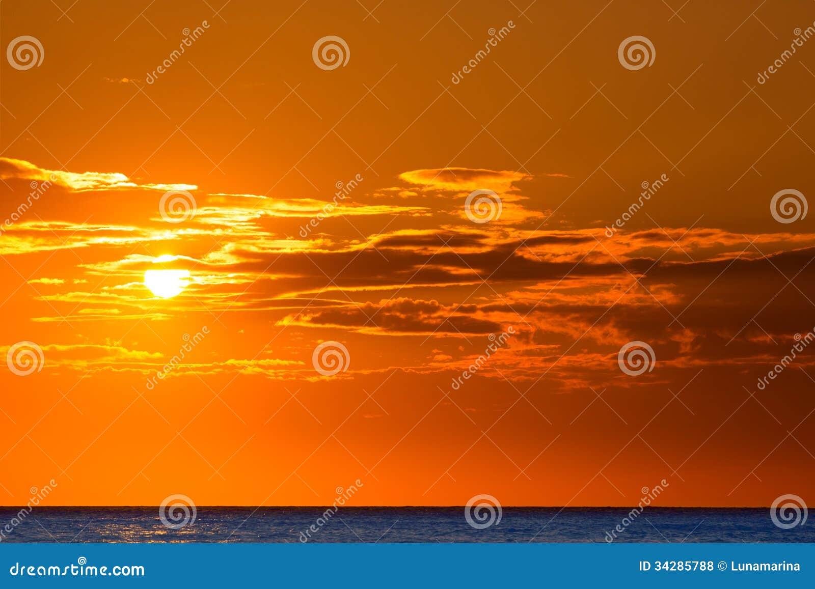 Fondo anaranjado del cielo de la puesta del sol en la for Fondo del sol