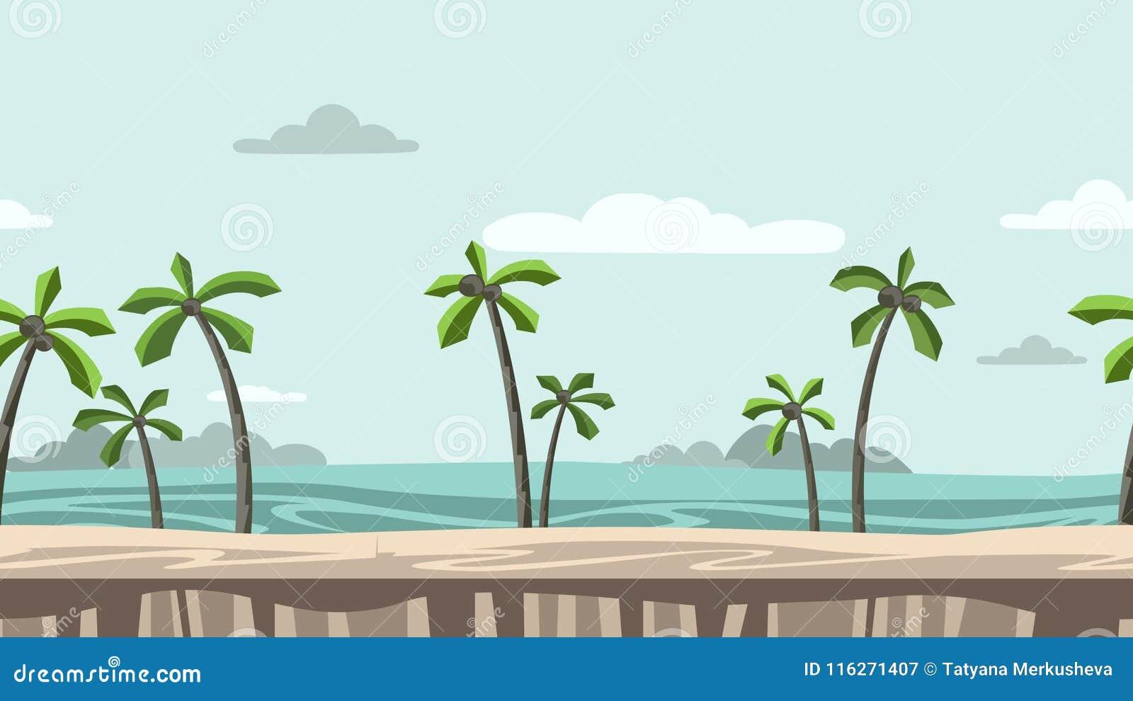 Fondo Animado Playa Con Las Palmeras Y Las Rocas En Horizonte