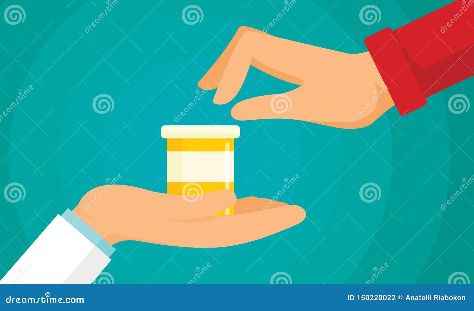 Fondo antibiótico del concepto del tratamiento, estilo plano