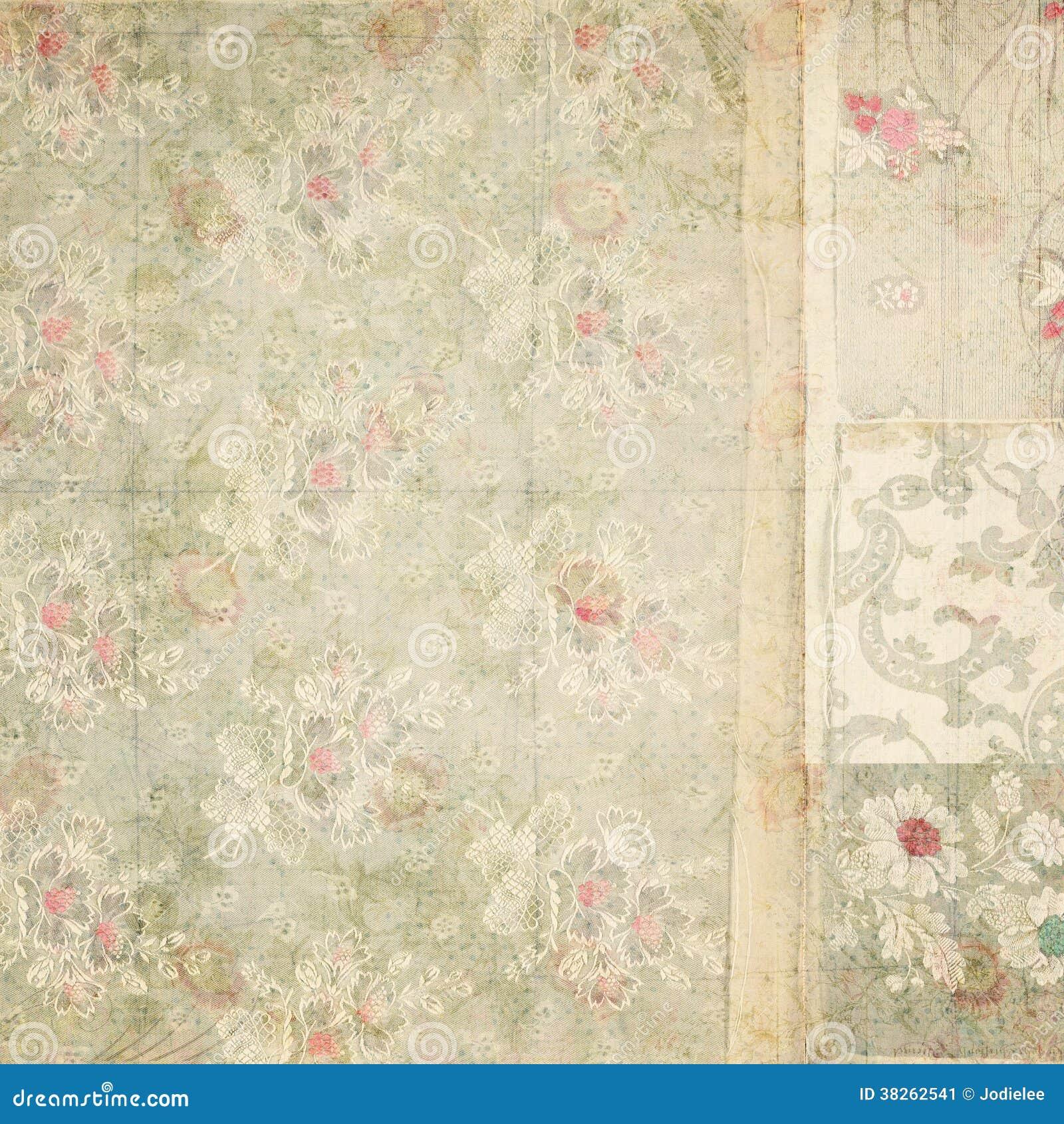 Fondo antiguo del collage del papel pintado floral del - Papel pintado antiguo ...