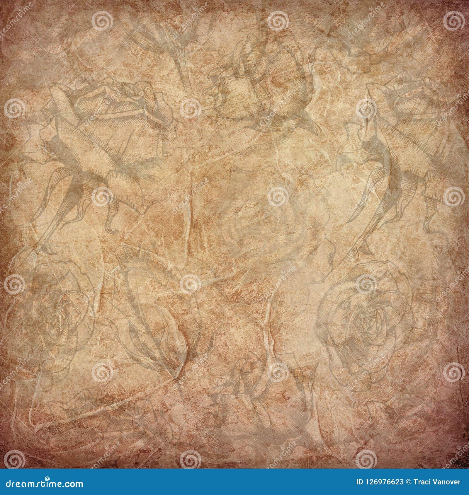 Fondo astratto afflitto del collage - rose di seppia - strati corrugati
